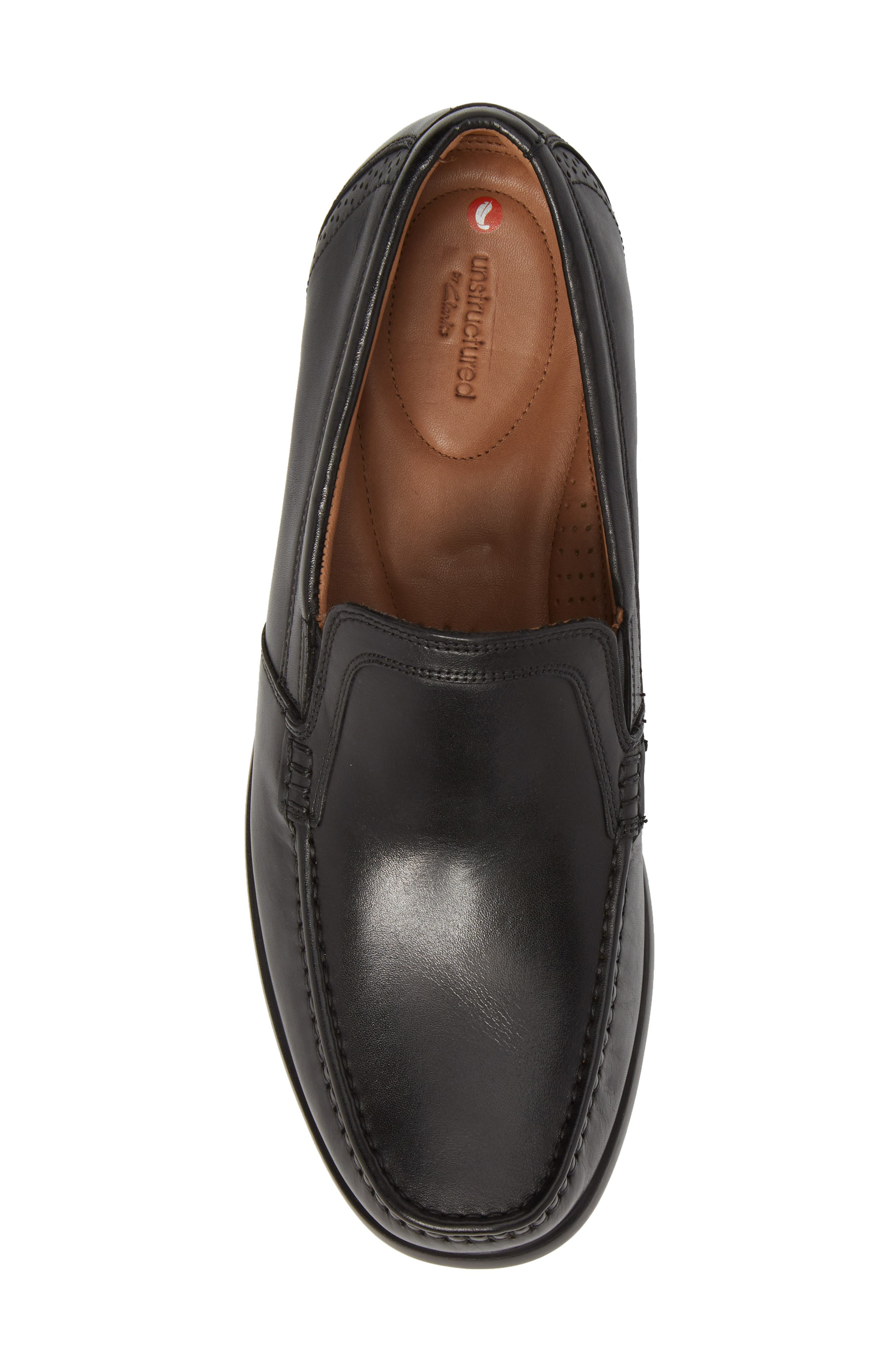 Clarks<sup>®</sup> Ungala Free Venetian Loafer,                             Alternate thumbnail 5, color,                             Black Leather