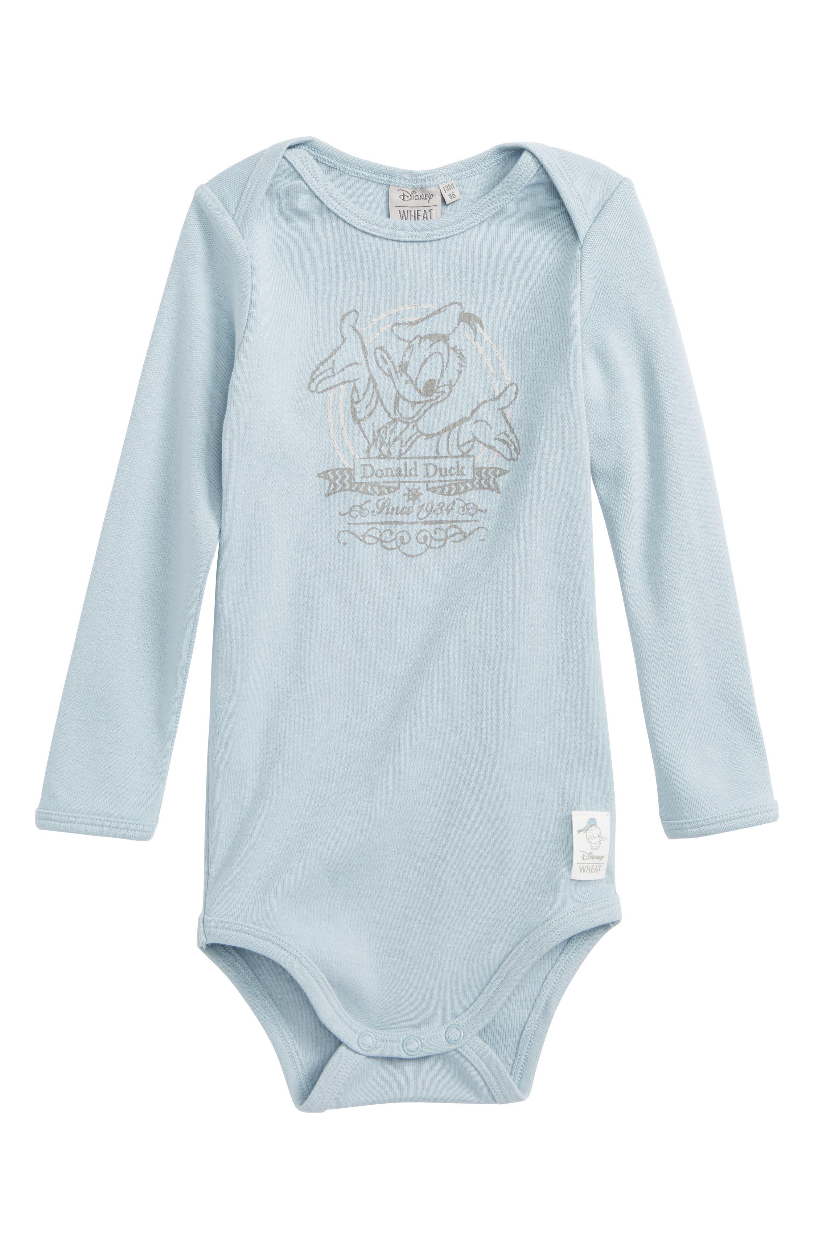 Disney Donald Duck Organic Cotton Bodysuit,                         Main,                         color, Sky