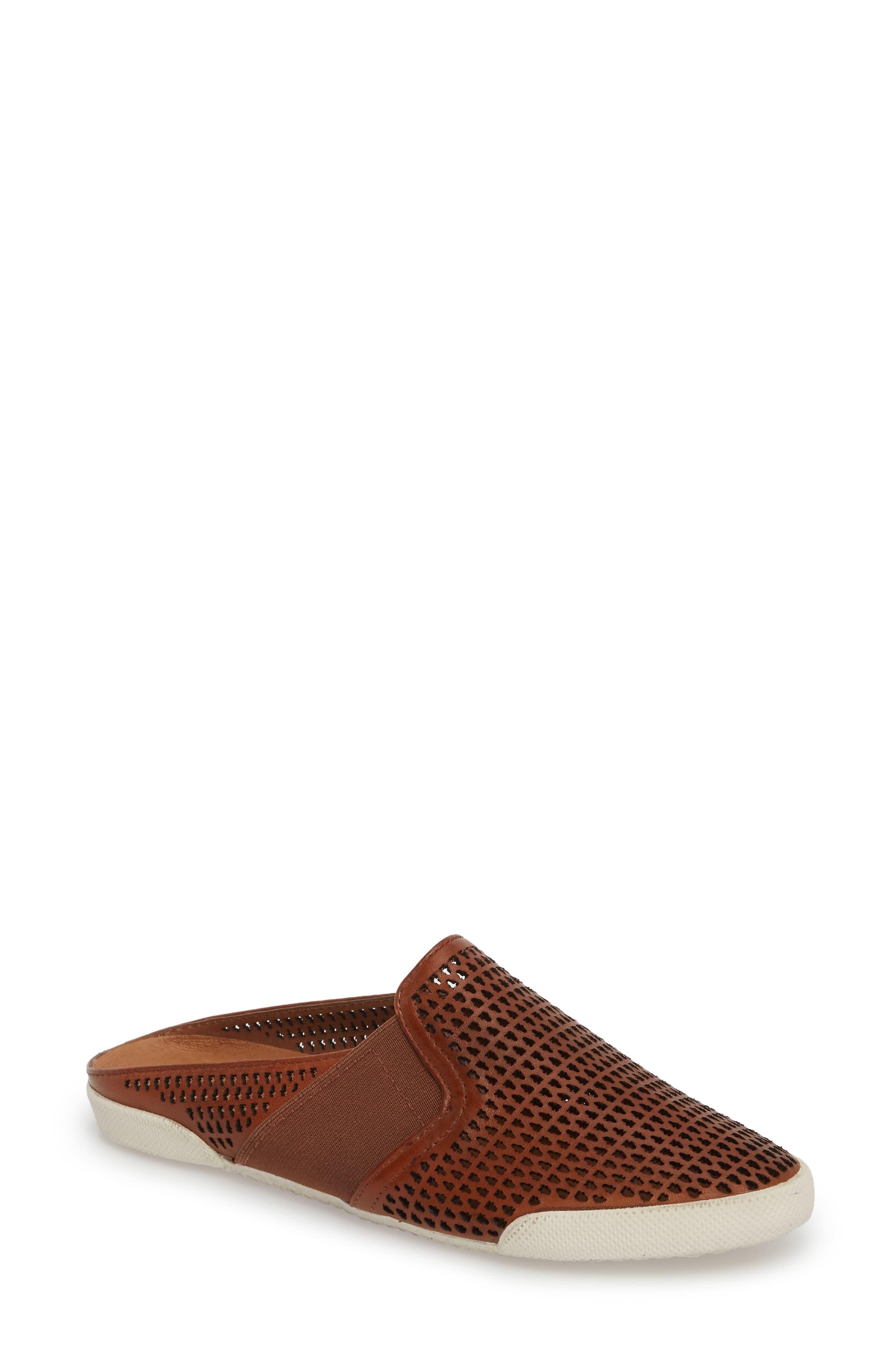 Melanie Perforated Mule,                         Main,                         color, Cognac Leather