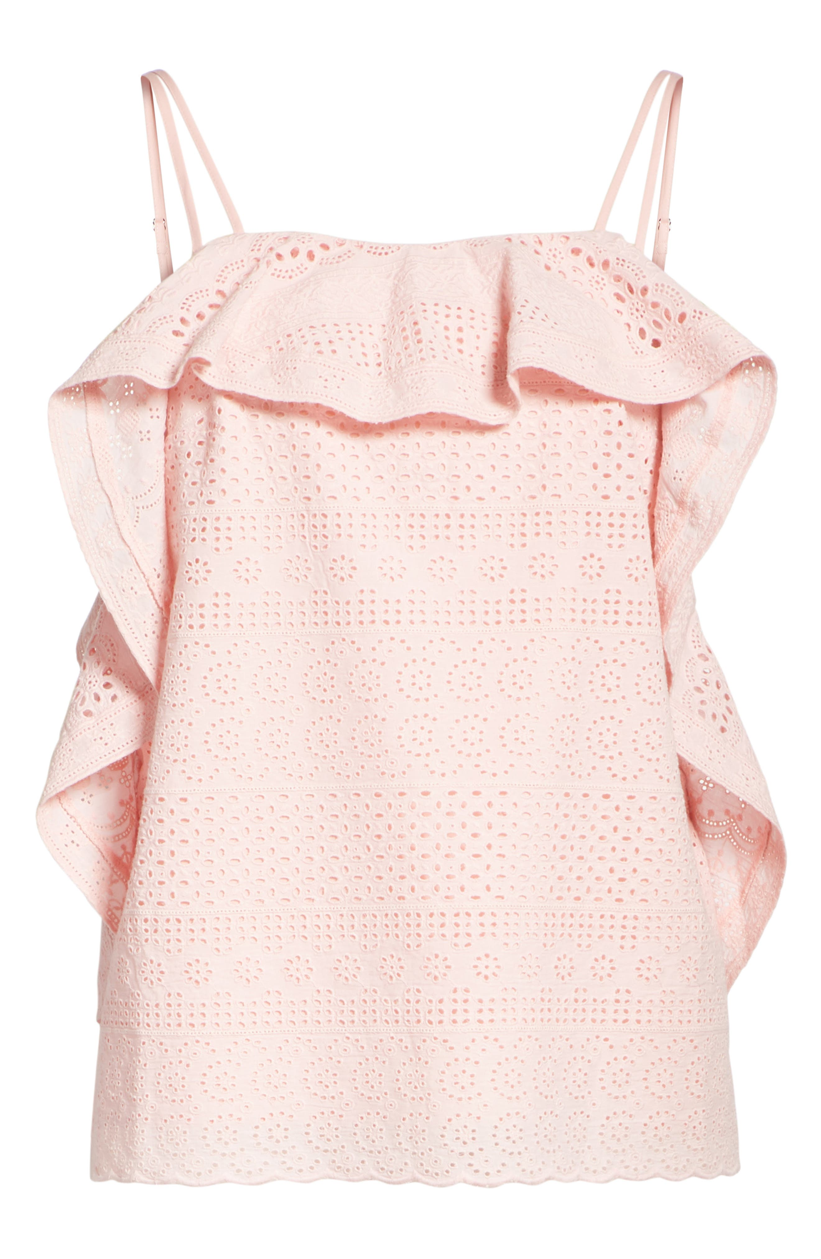 Deconstructed Broderie Top,                             Alternate thumbnail 6, color,                             Pink