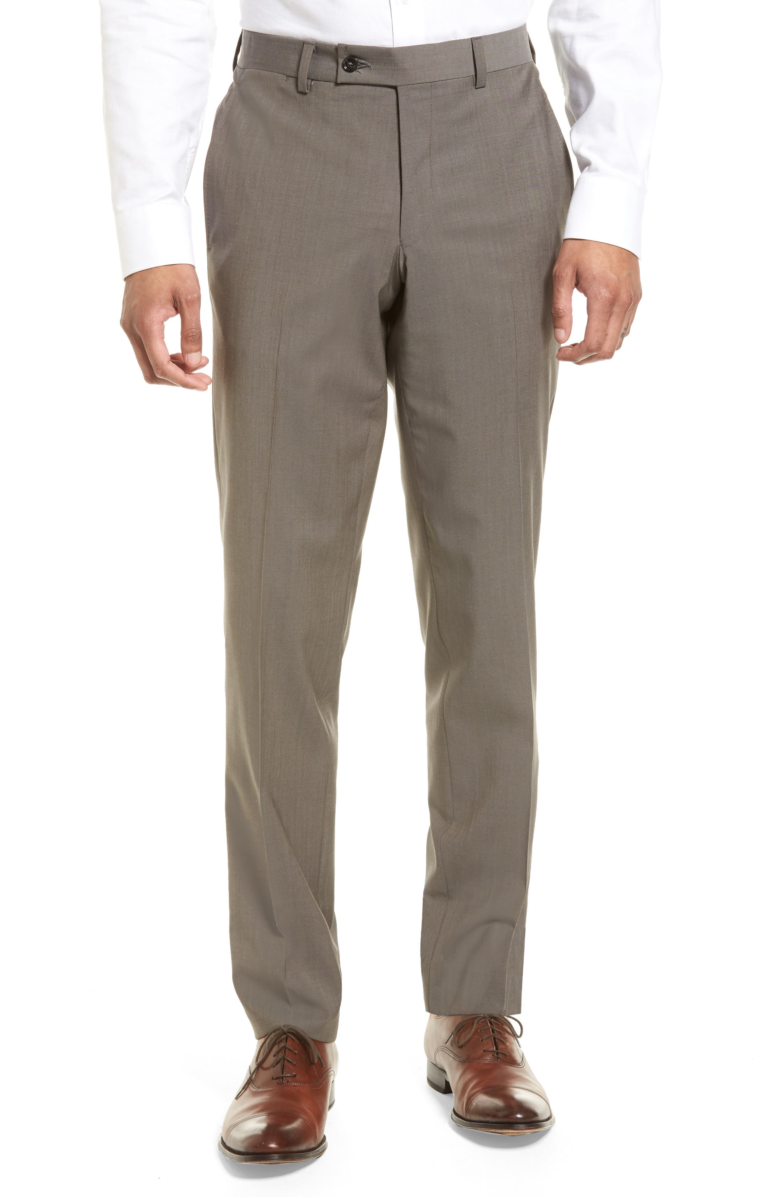 Jefferson Flat Front Stretch Wool Trousers,                             Main thumbnail 1, color,                             Grey
