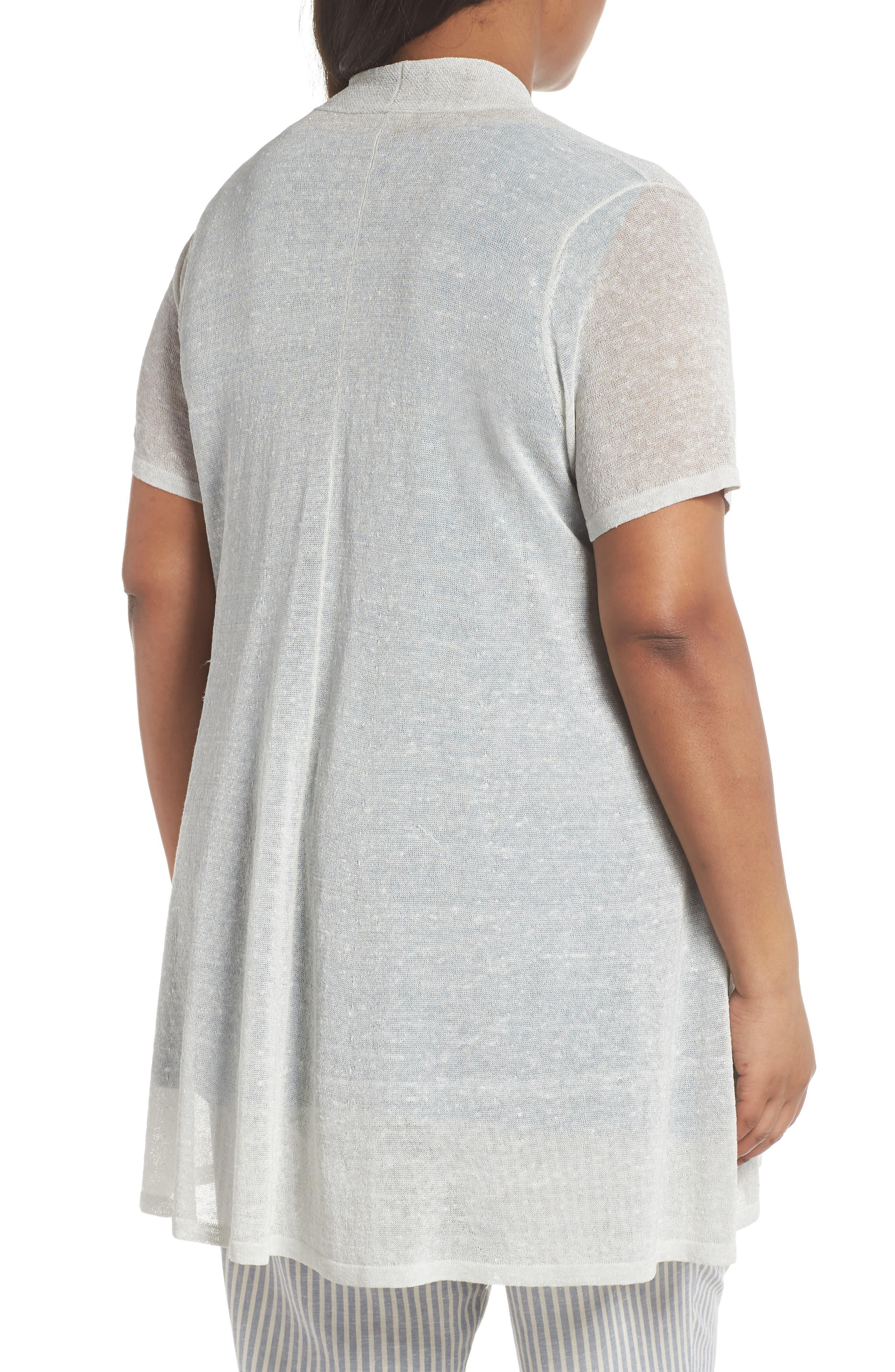 Long Organic Linen Blend Cardigan,                             Alternate thumbnail 2, color,                             Bone