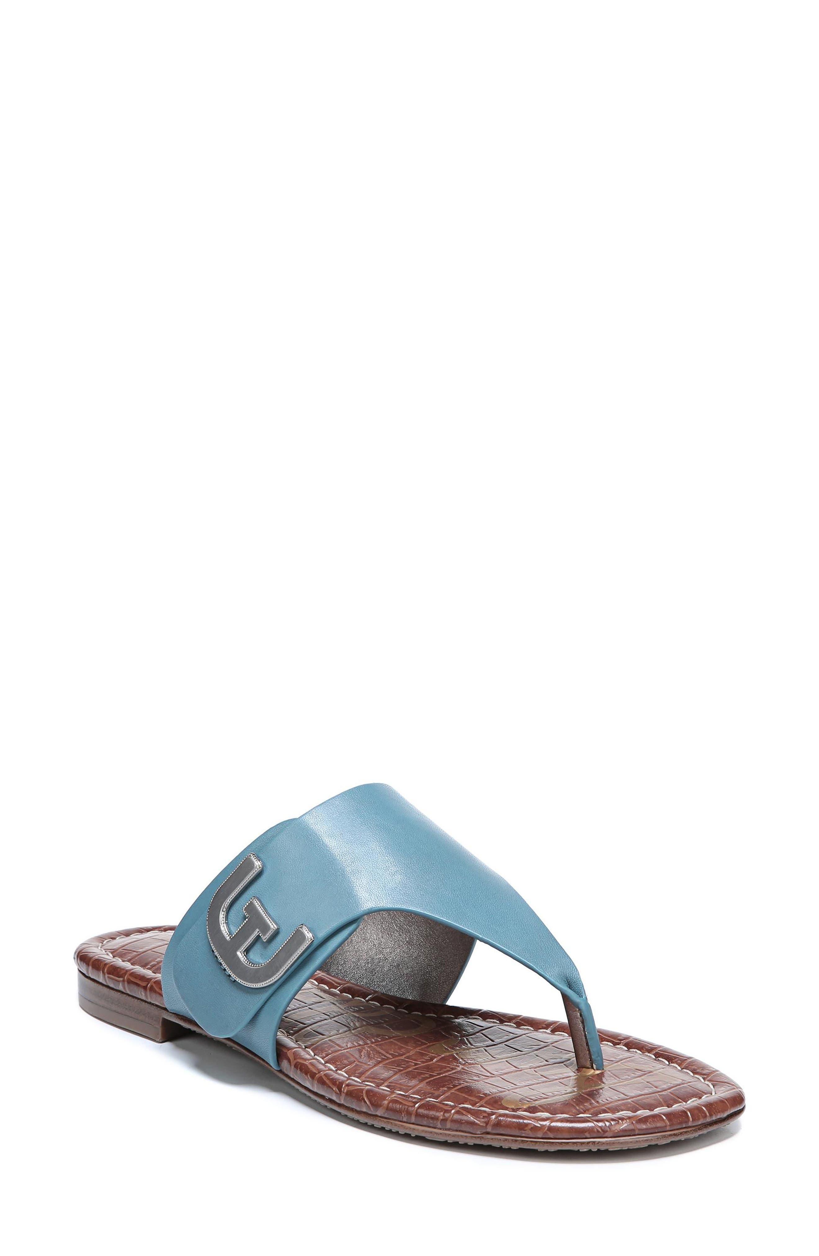 Barry V-Strap Thong Sandal,                             Main thumbnail 1, color,                             Denim Blue Leather