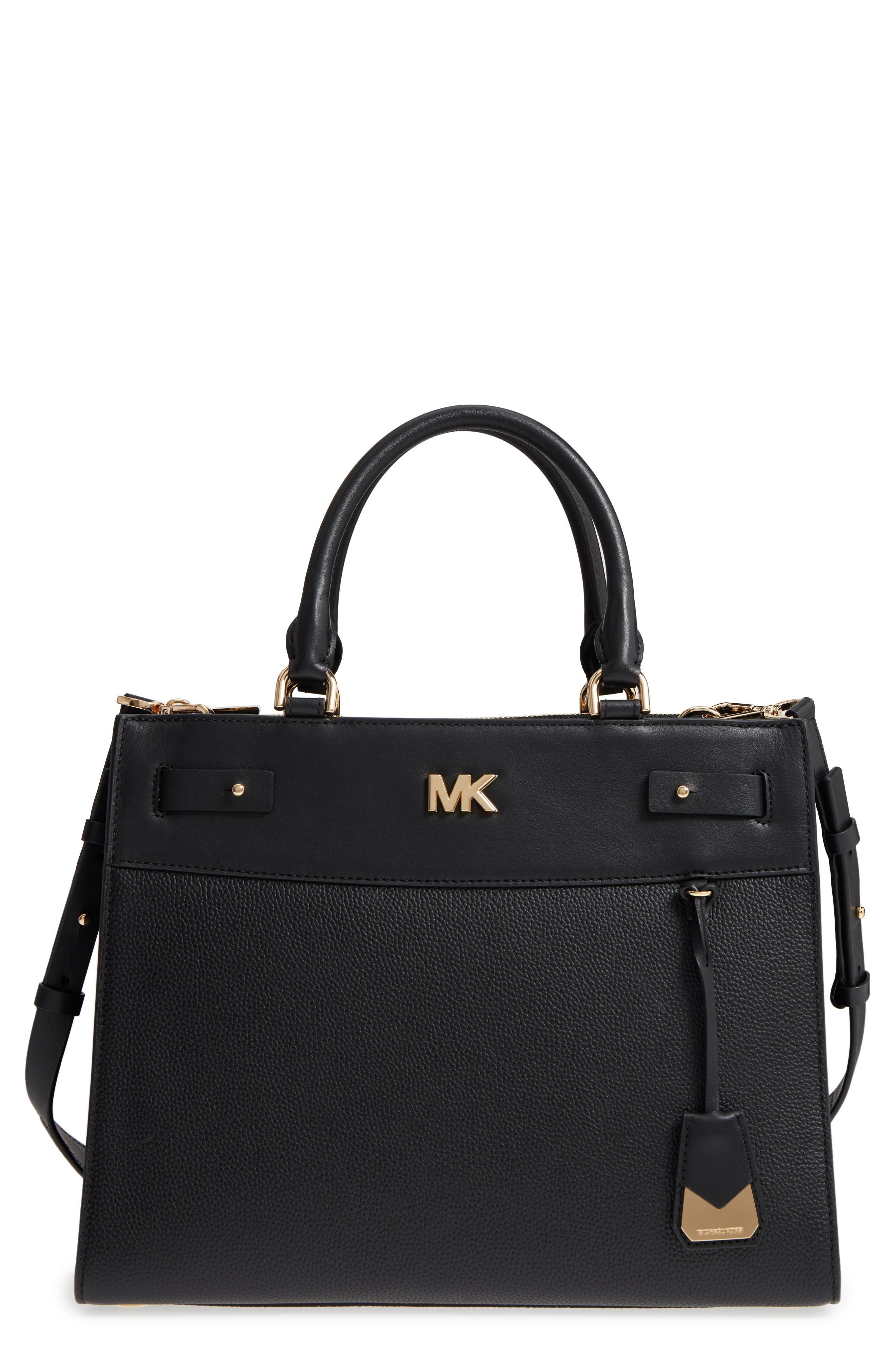 Reagan Large Leather Satchel,                         Main,                         color, Black