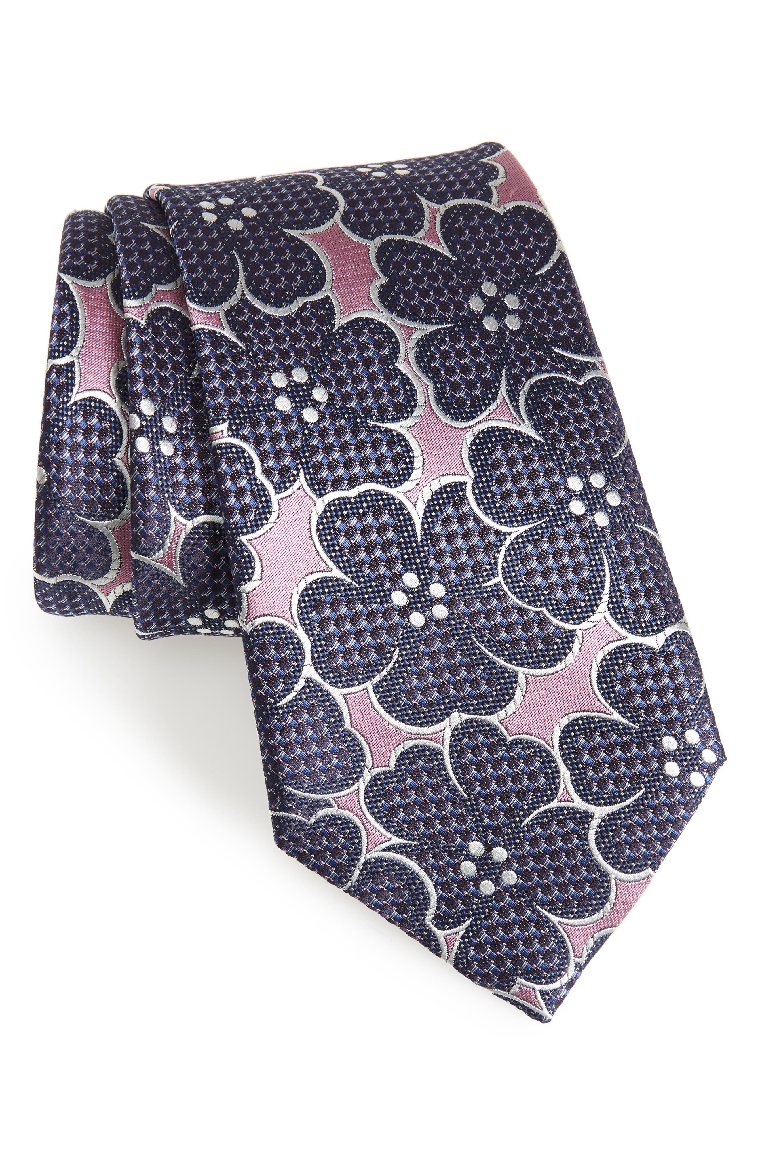 Floral Silk Tie,                             Main thumbnail 1, color,                             Pink