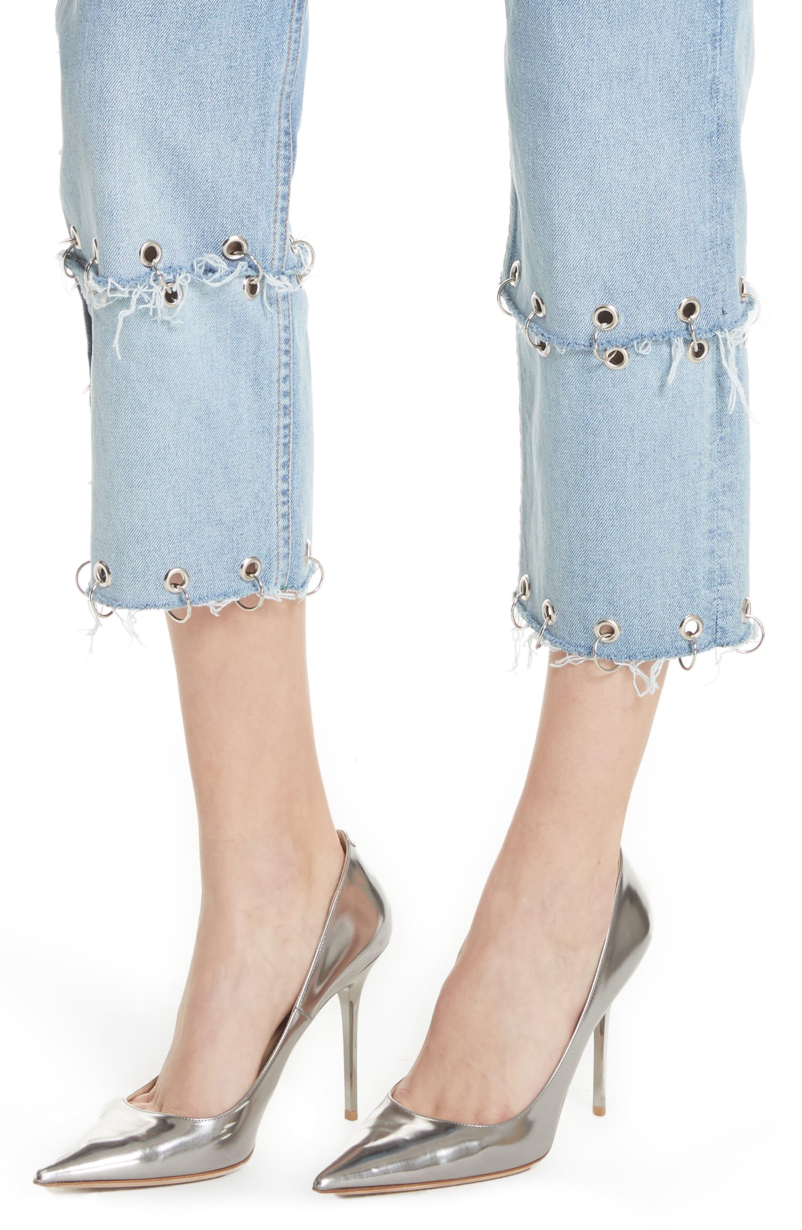 Helena Grommet Detail Straight Leg Crop Jeans,                             Alternate thumbnail 4, color,                             Blue