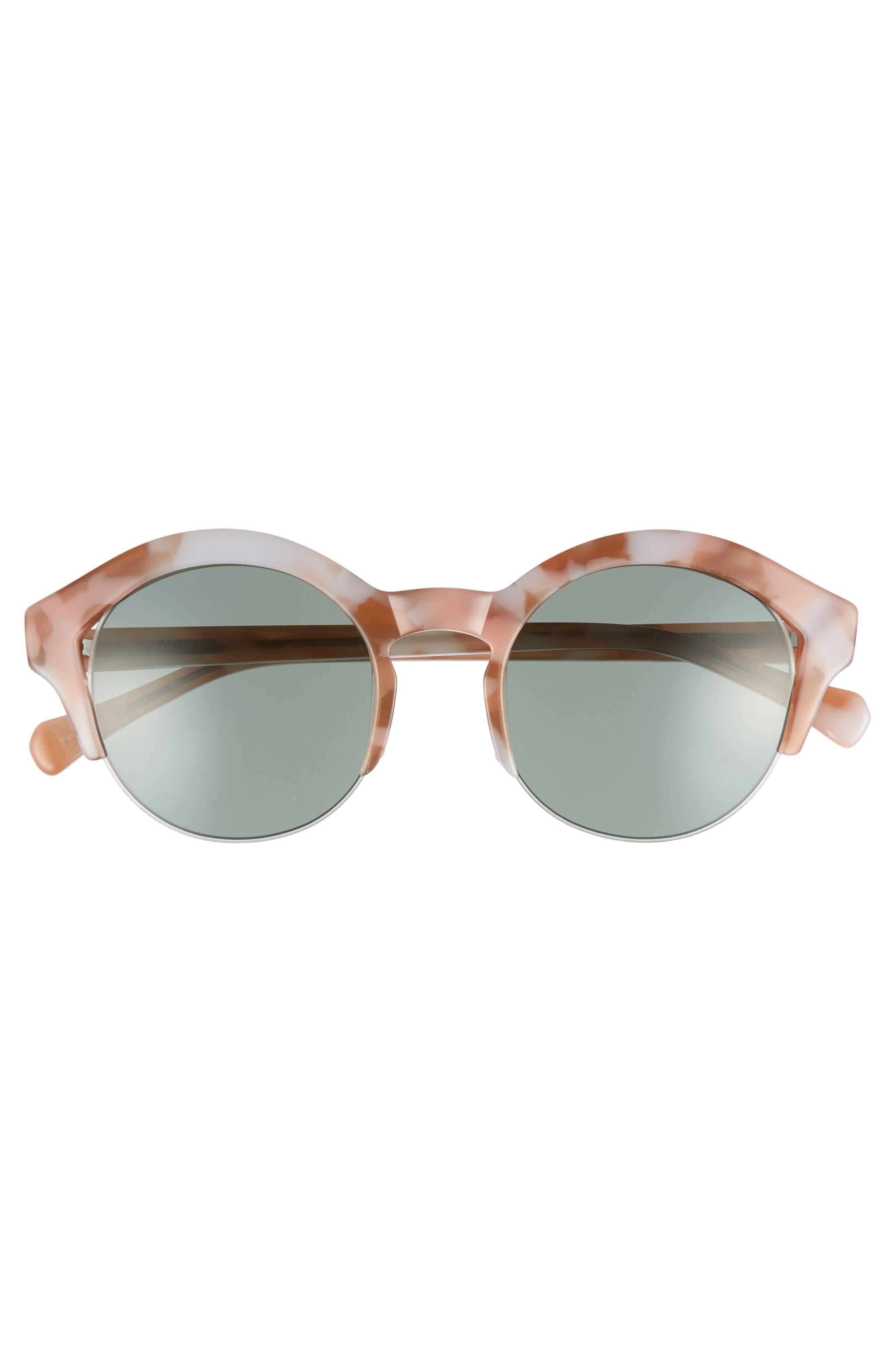 Bren 51mm Half-Rim Sunglasses,                             Alternate thumbnail 3, color,                             Pink/ Tortoise Green