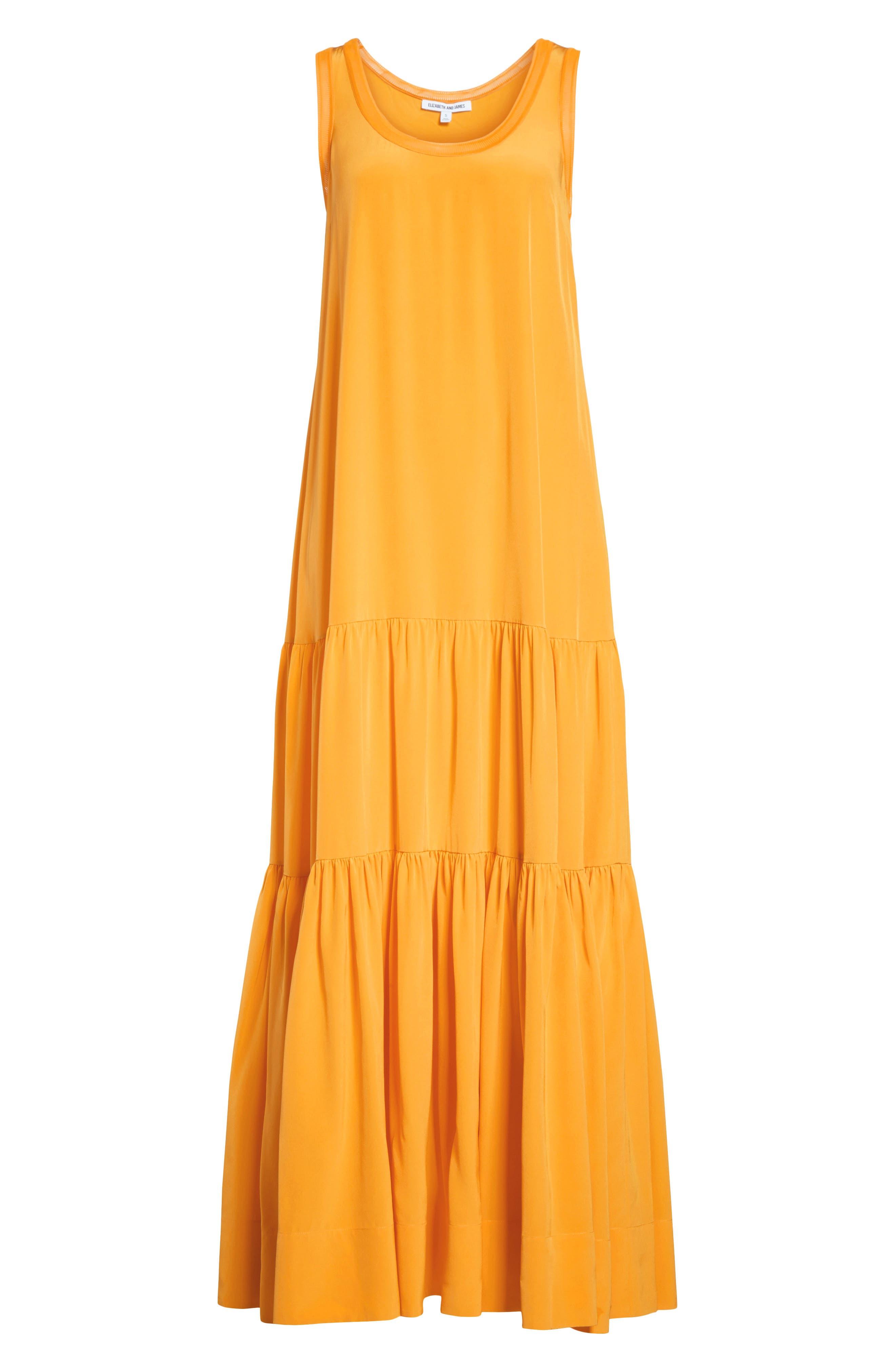 Hazel Silk Tank Dress,                             Alternate thumbnail 8, color,                             Saffron