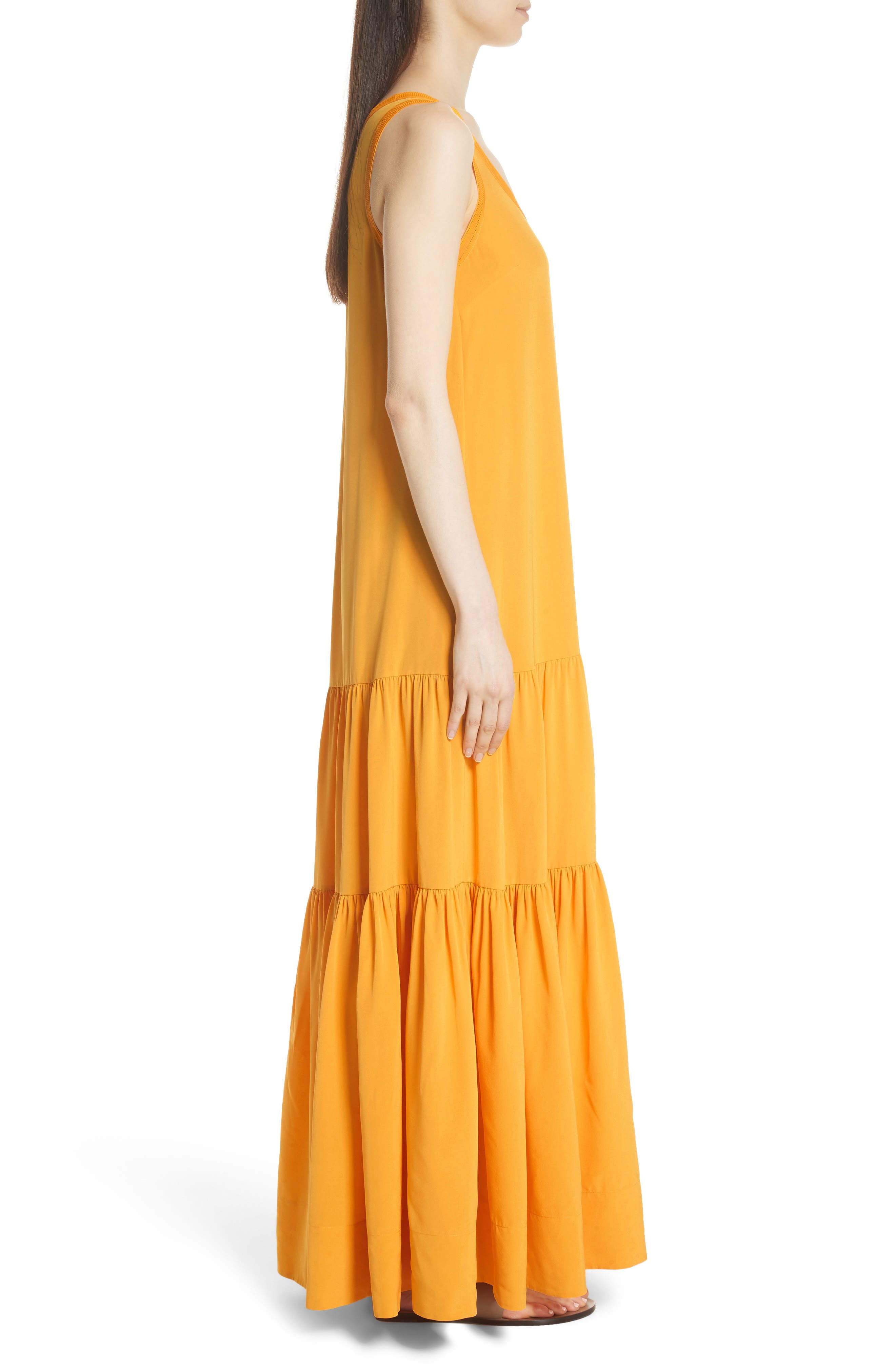 Hazel Silk Tank Dress,                             Alternate thumbnail 5, color,                             Saffron