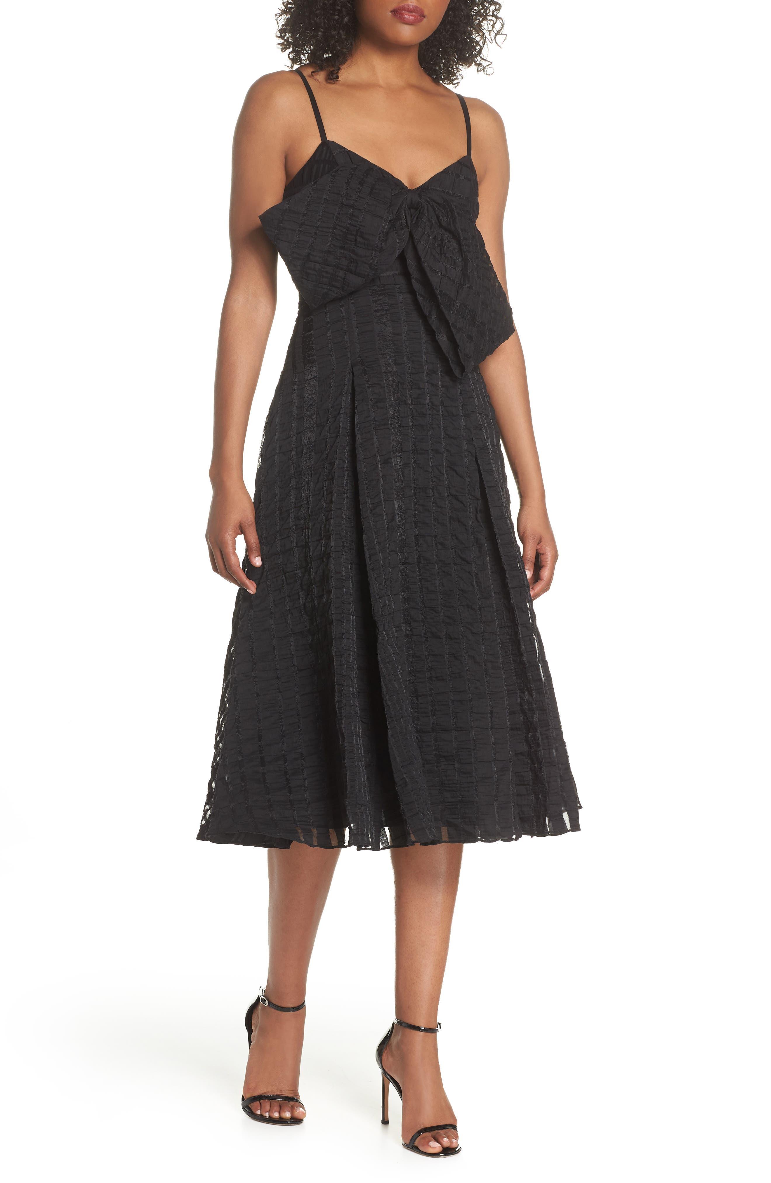 Susie Textured Tea Length Dress,                             Main thumbnail 1, color,                             Black