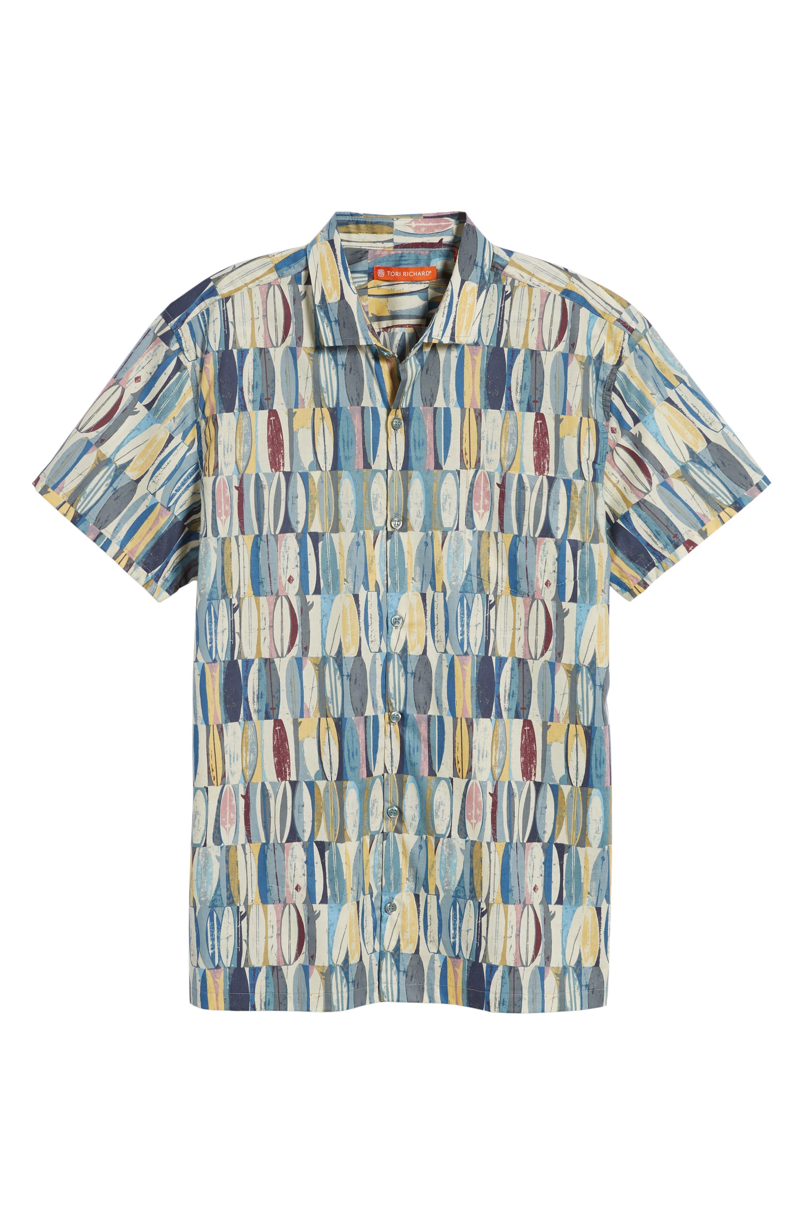 Board Room Trim Fit Camp Shirt,                             Alternate thumbnail 6, color,                             Ocean Blue