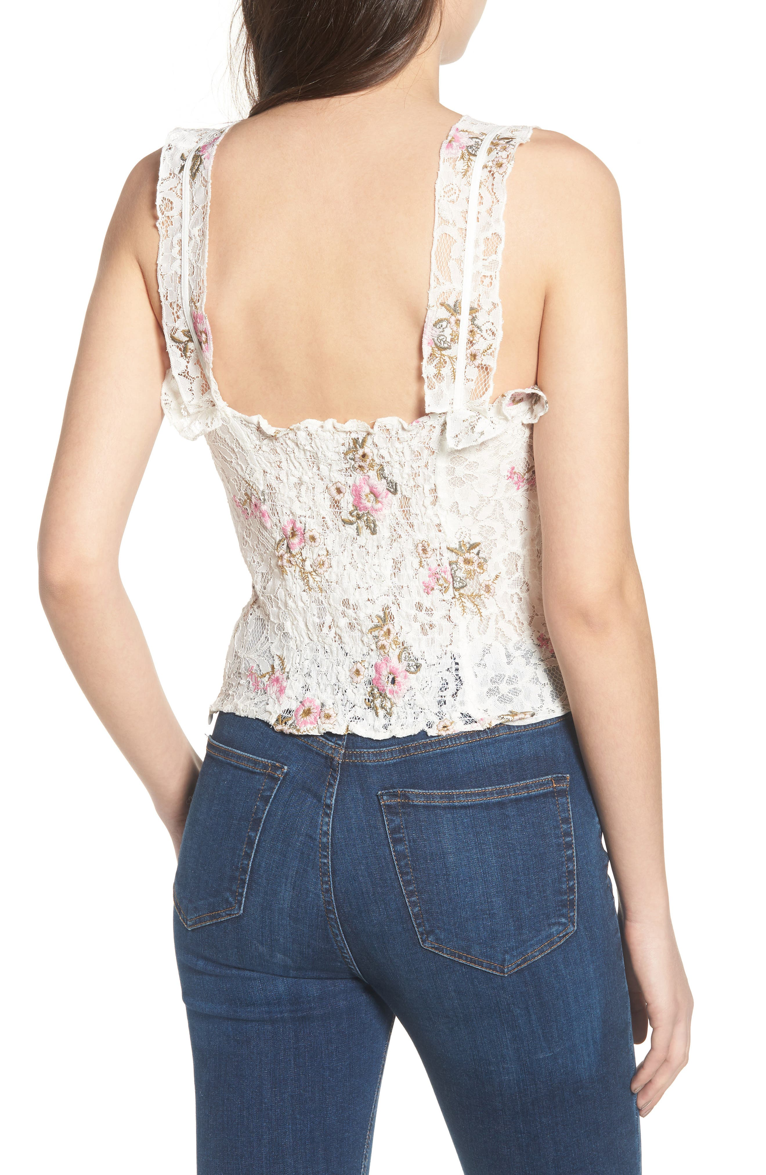 Acerra Lace-Up Lace Top,                             Alternate thumbnail 2, color,                             Ivory Embroidered Lace
