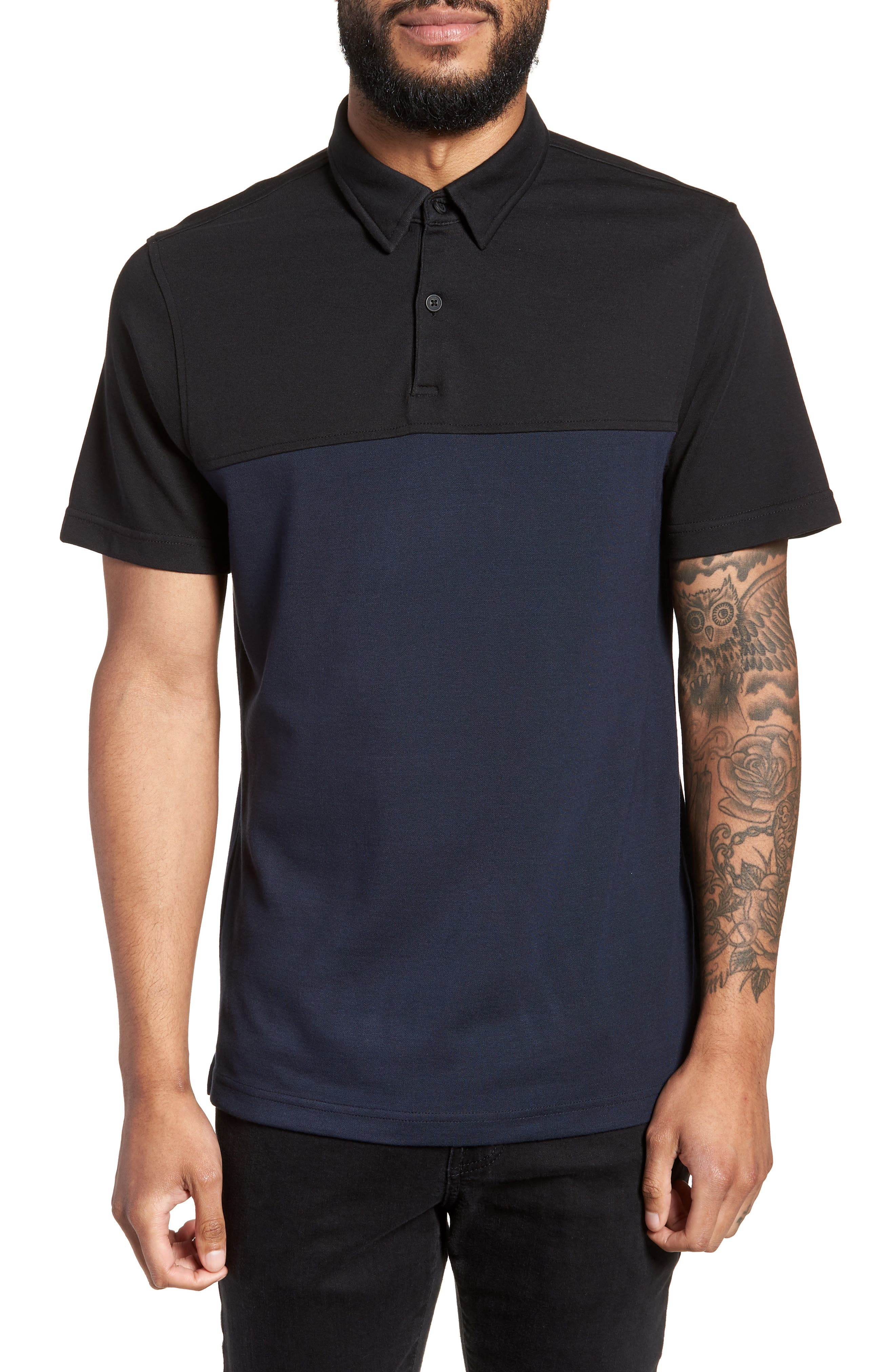 Trim Fit Colorblock Short Sleeve Polo,                             Main thumbnail 1, color,                             Navy Black