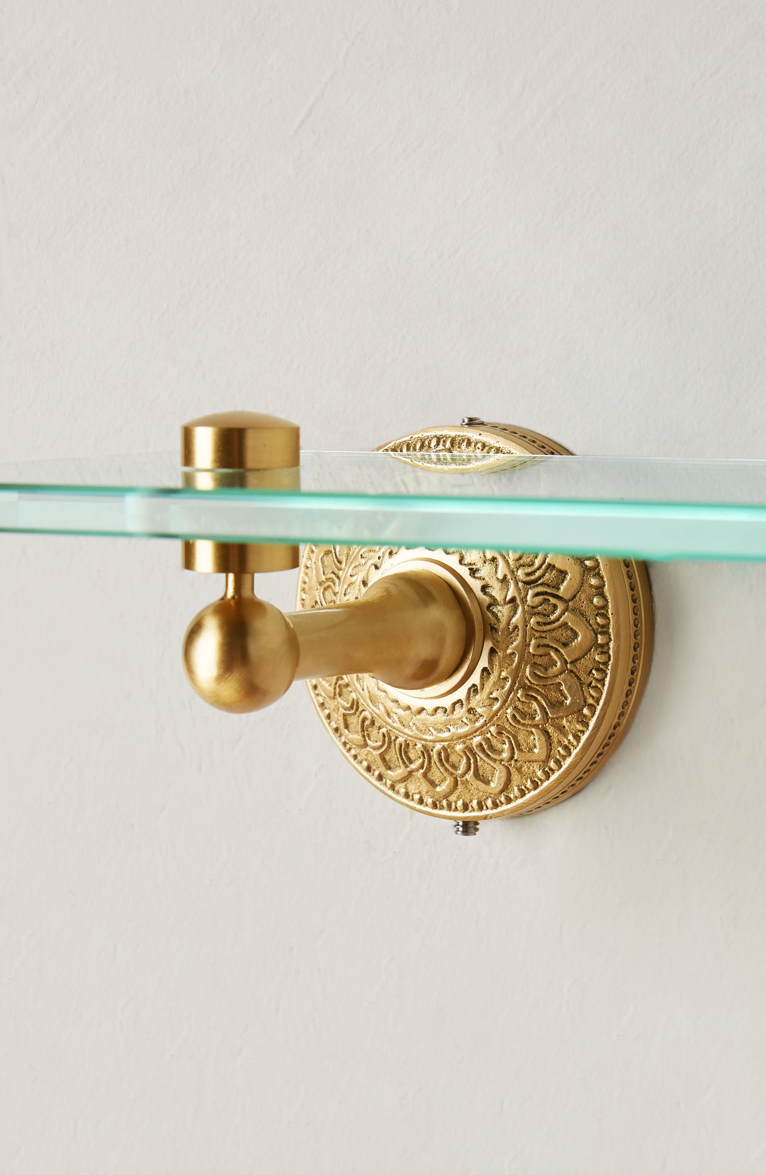 Brass Medallion Shelf,                             Alternate thumbnail 2, color,                             Honey