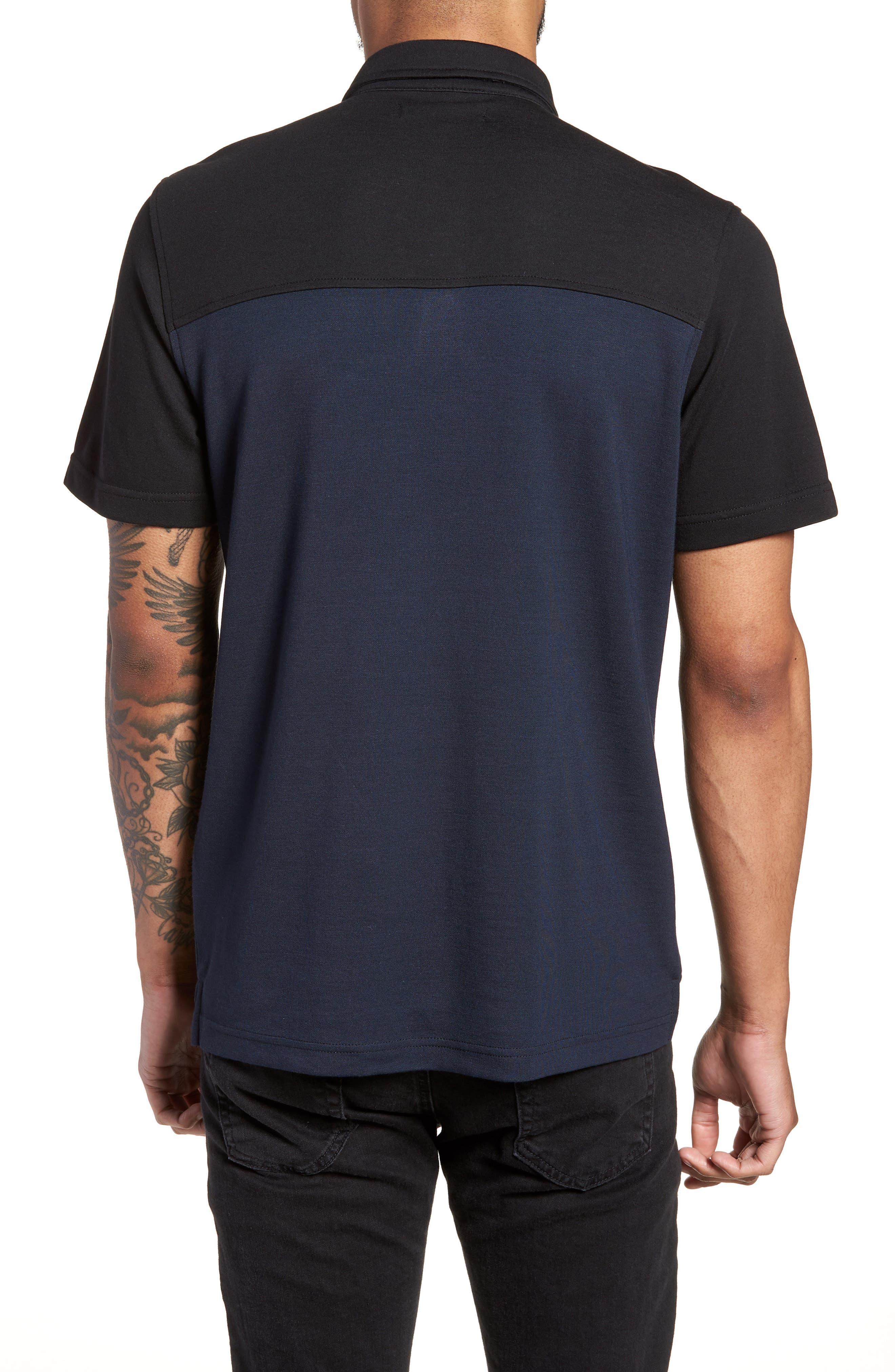 Trim Fit Colorblock Short Sleeve Polo,                             Alternate thumbnail 2, color,                             Navy Black