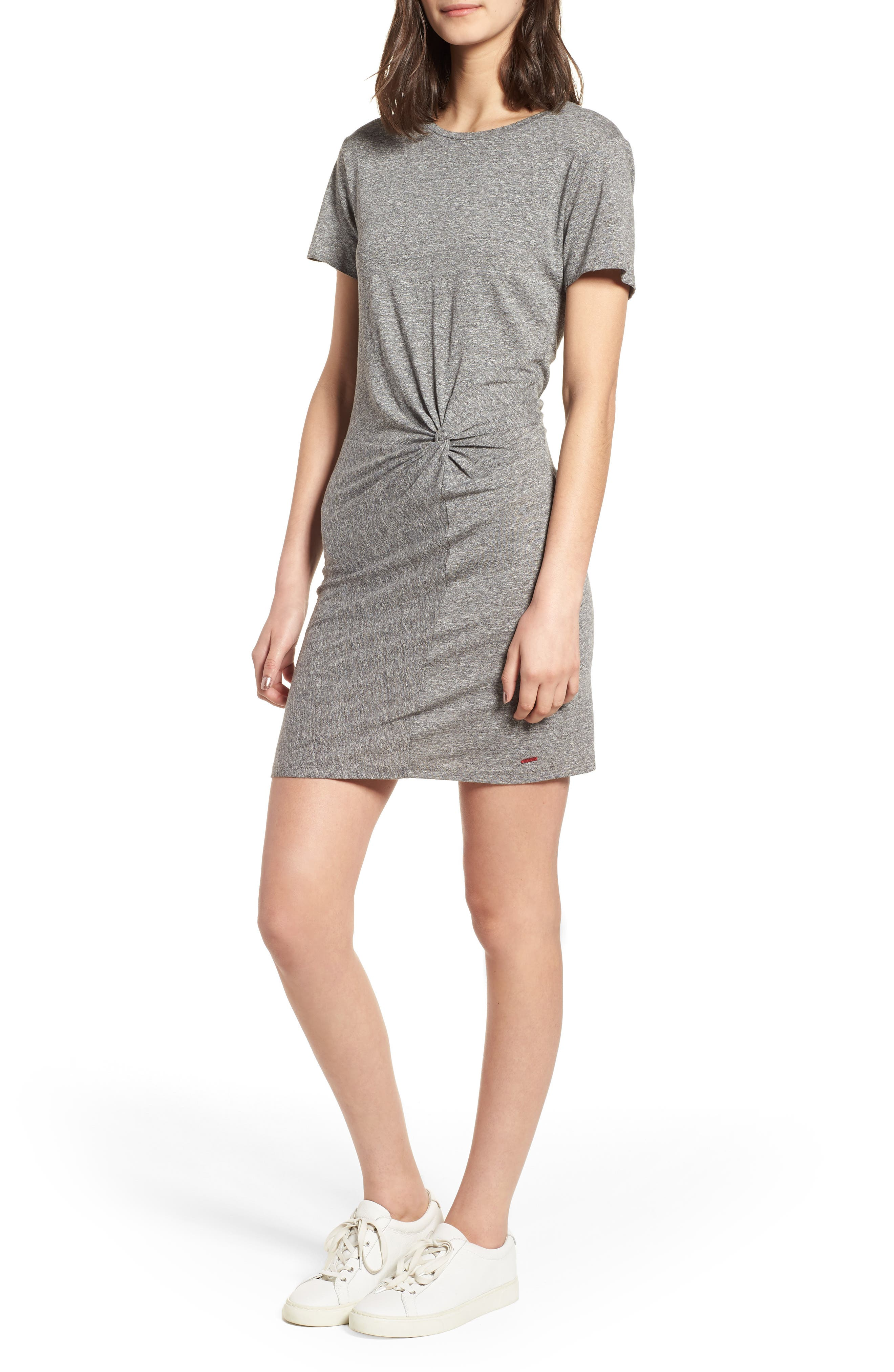 Jazz Twisted T-Shirt Dress,                         Main,                         color, Heather Grey