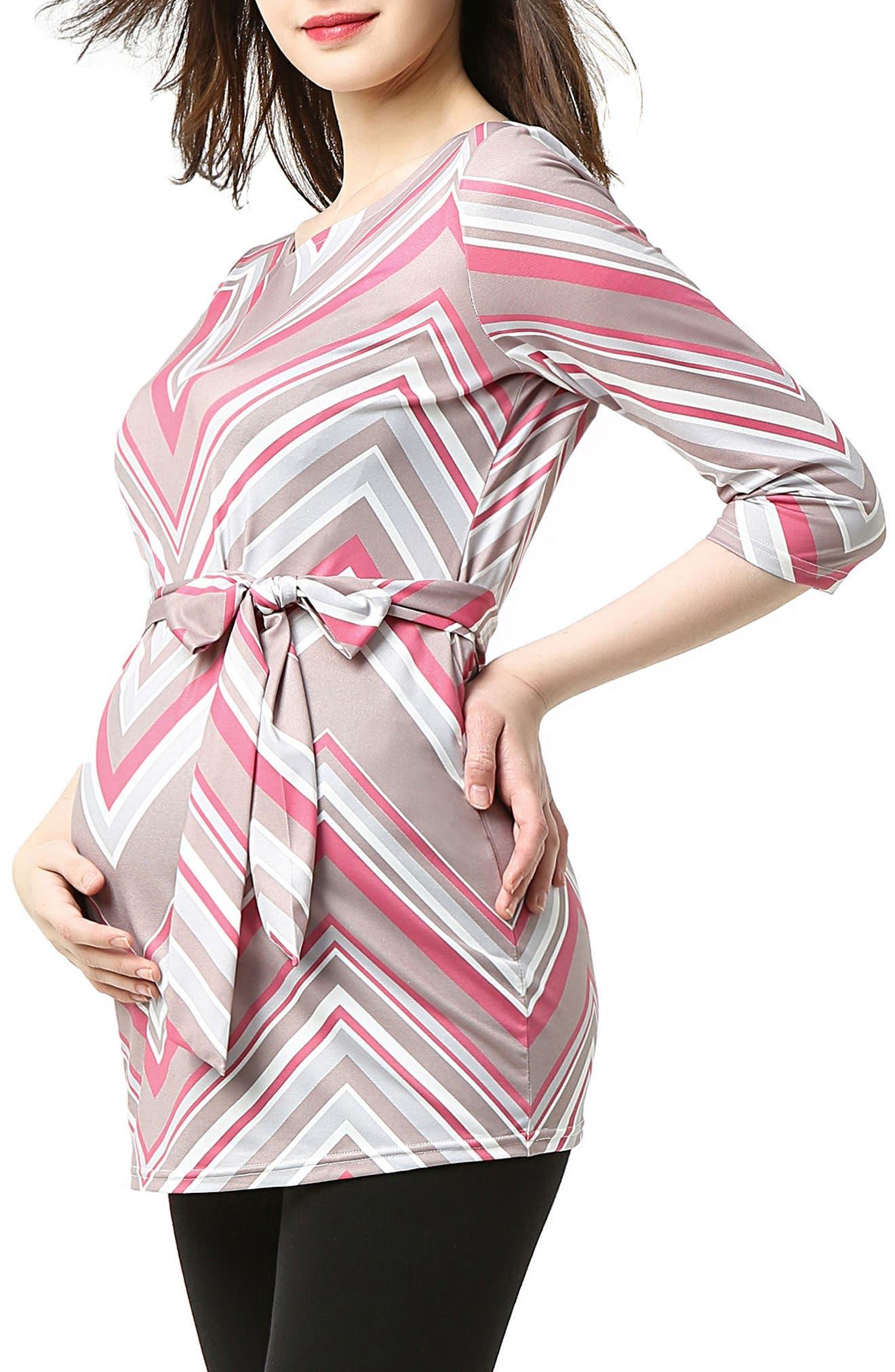 Delia Chevron Maternity Top,                             Alternate thumbnail 3, color,                             Multicolored Stripe