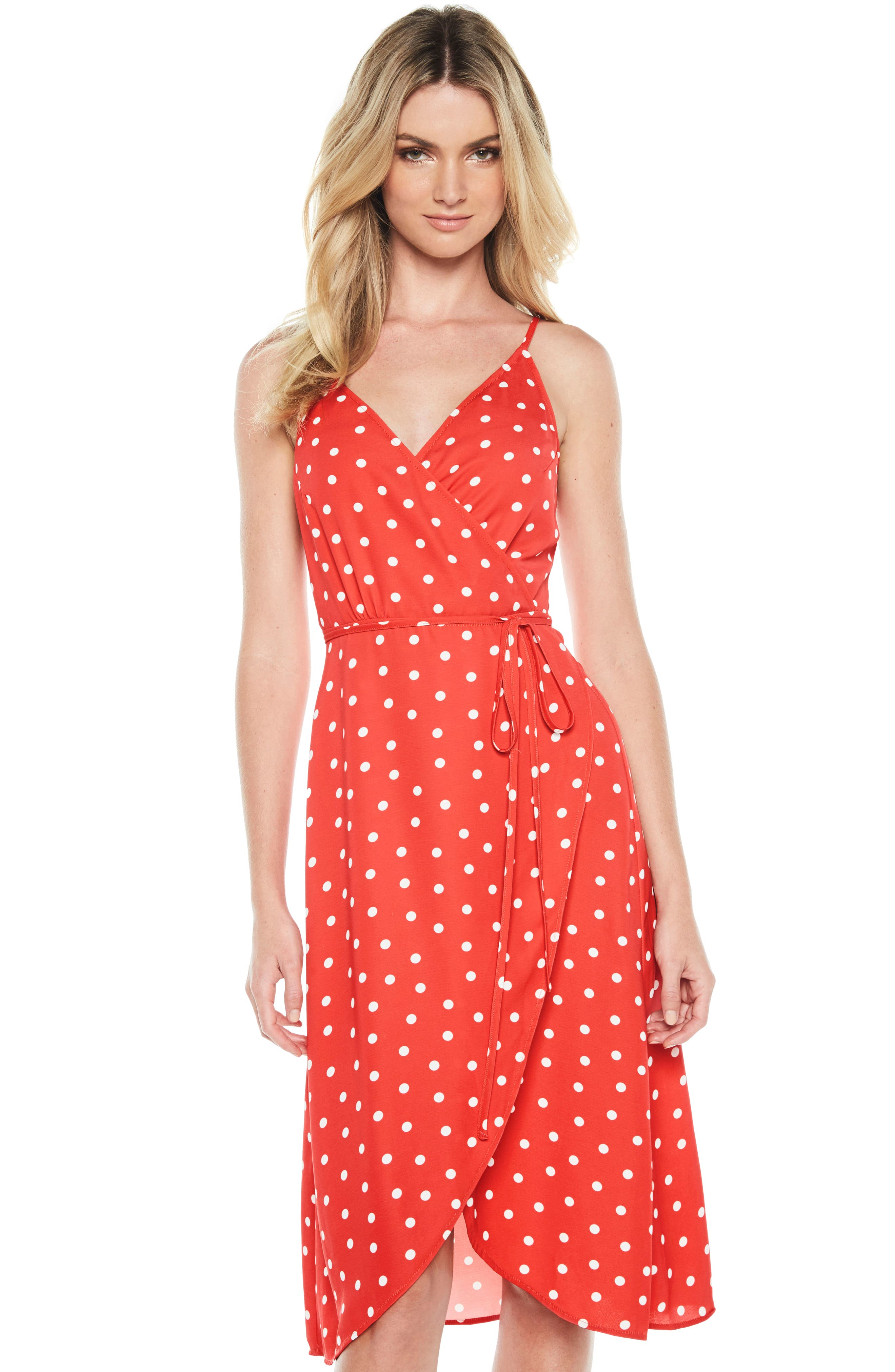 Dotted Wrap Dress,                             Alternate thumbnail 2, color,                             Red Spot
