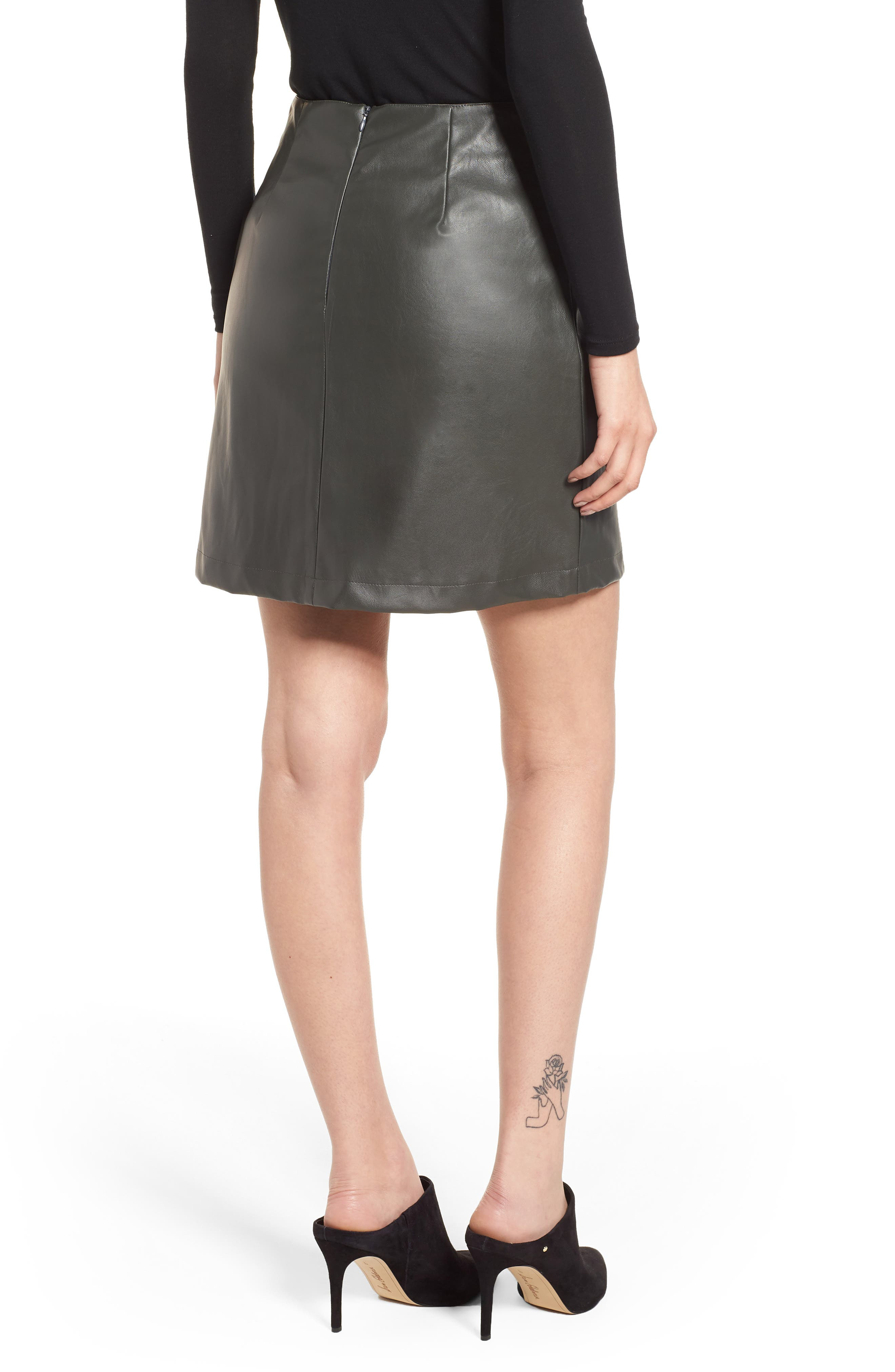 Bishop + Young A-Line Faux Leather Miniskirt,                             Alternate thumbnail 2, color,                             Olive