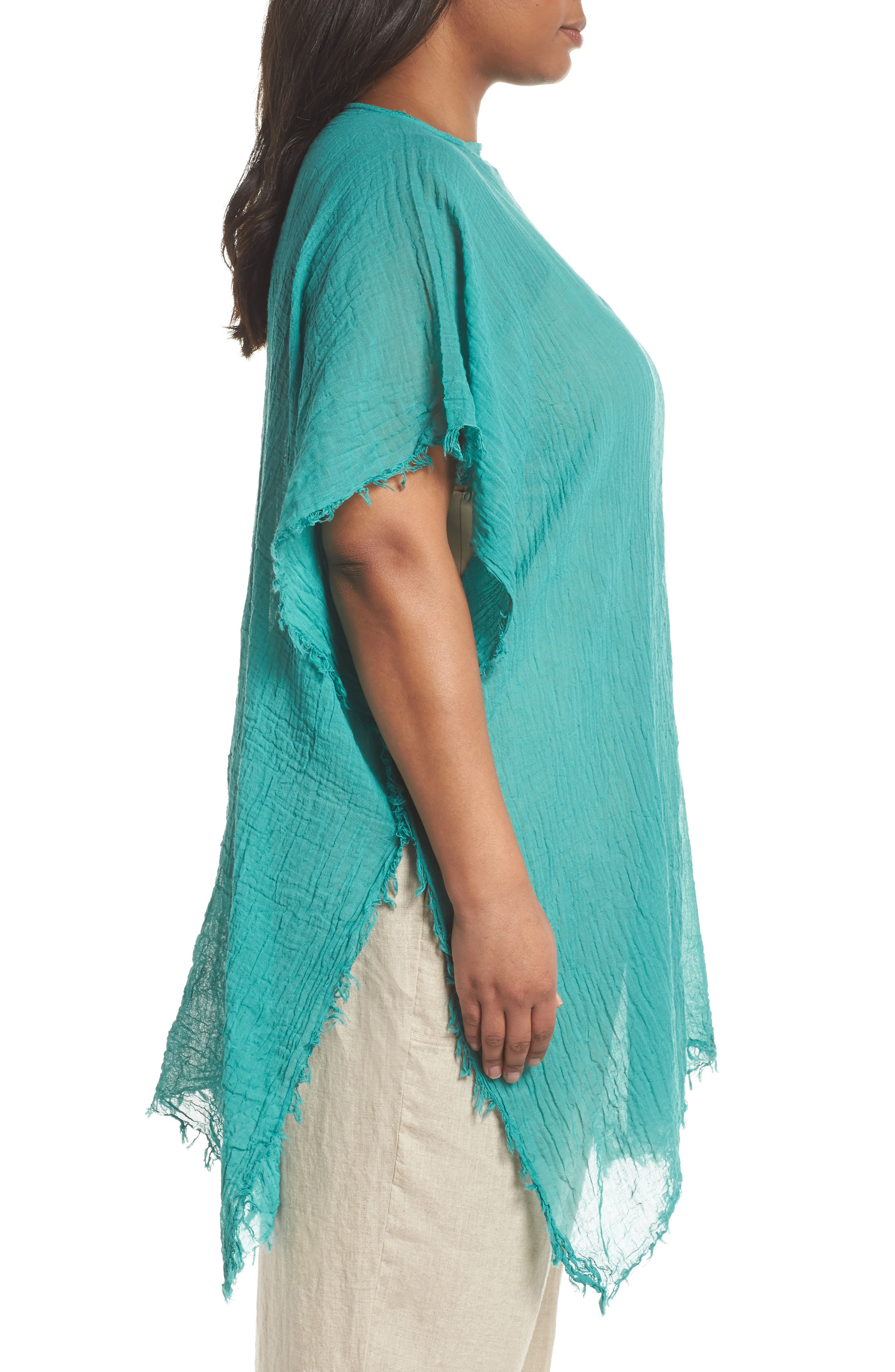 Organic Cotton Poncho,                             Alternate thumbnail 3, color,                             Turquoise
