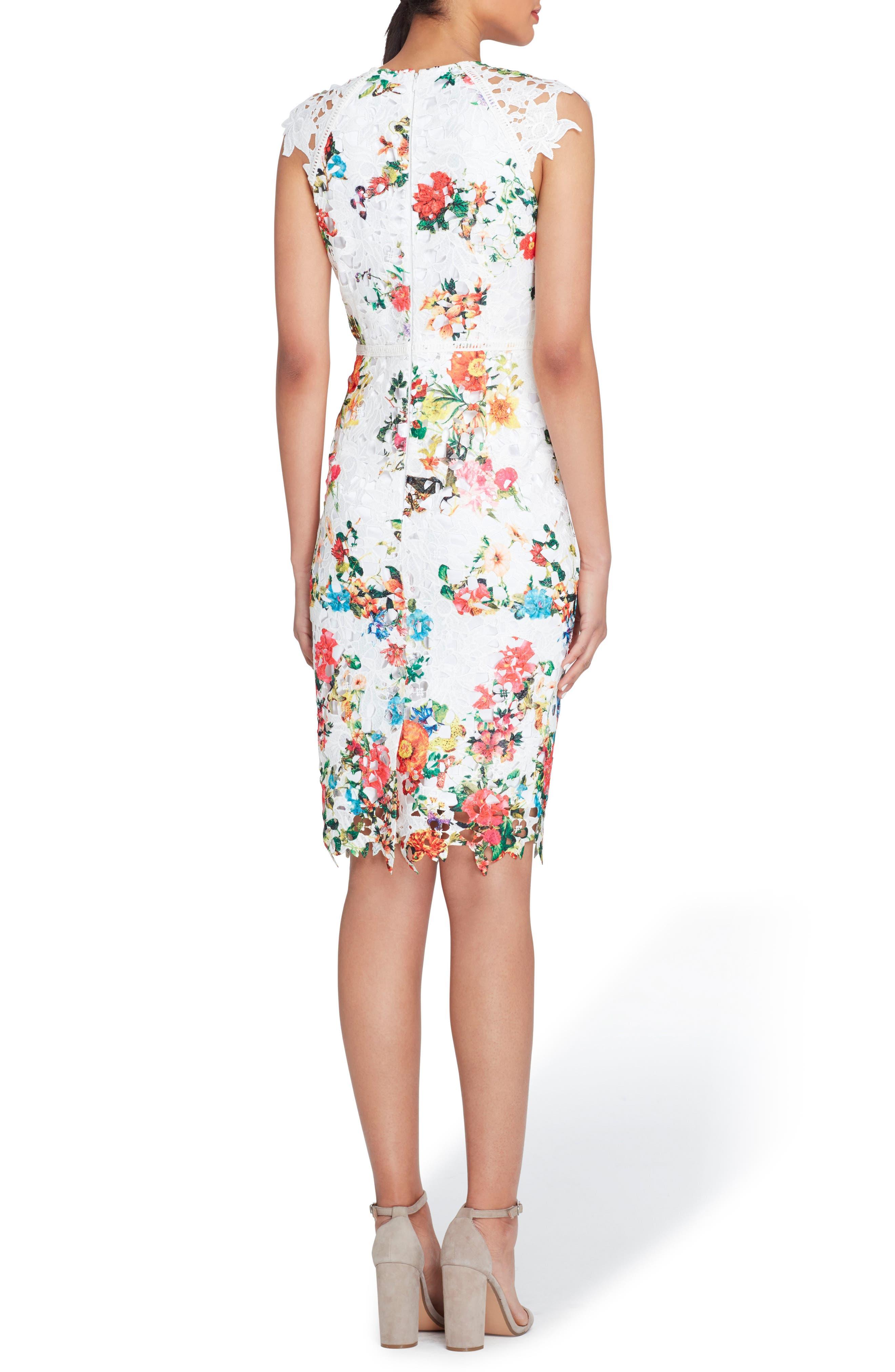 Alternate Image 2  - Tahari Floral Print Lace Sheath Dress