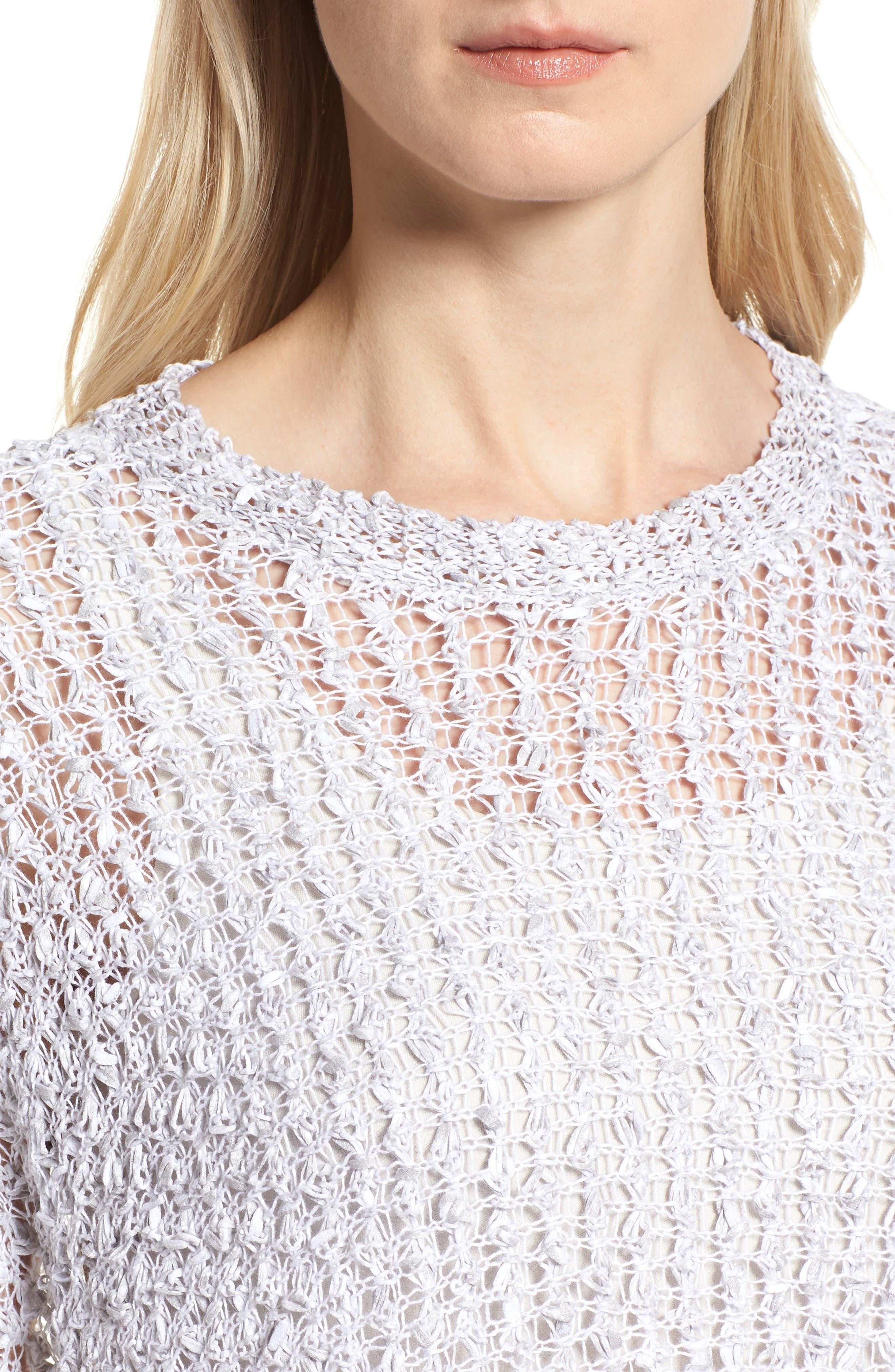 Organic Cotton & Linen Crochet Top,                             Alternate thumbnail 4, color,                             Dark Pearl