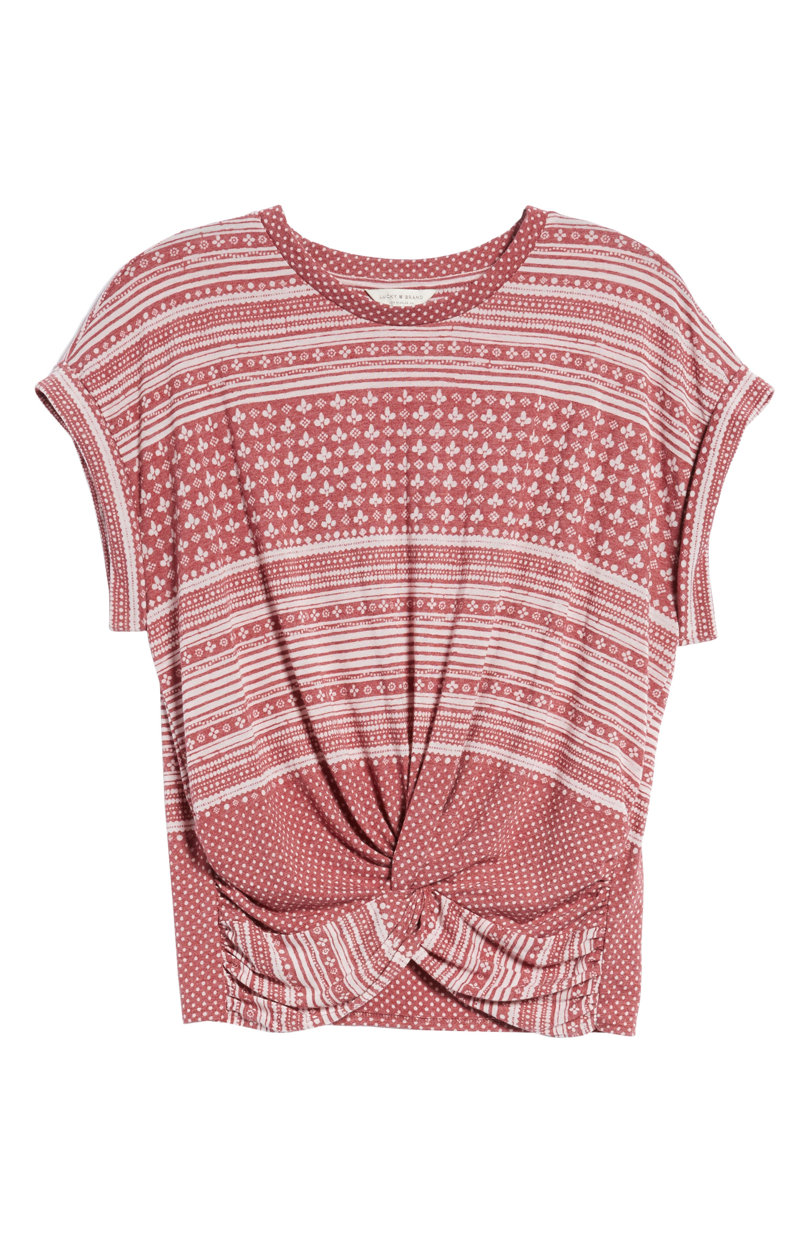 Twist Front Print Tee,                             Alternate thumbnail 6, color,                             Earth Red