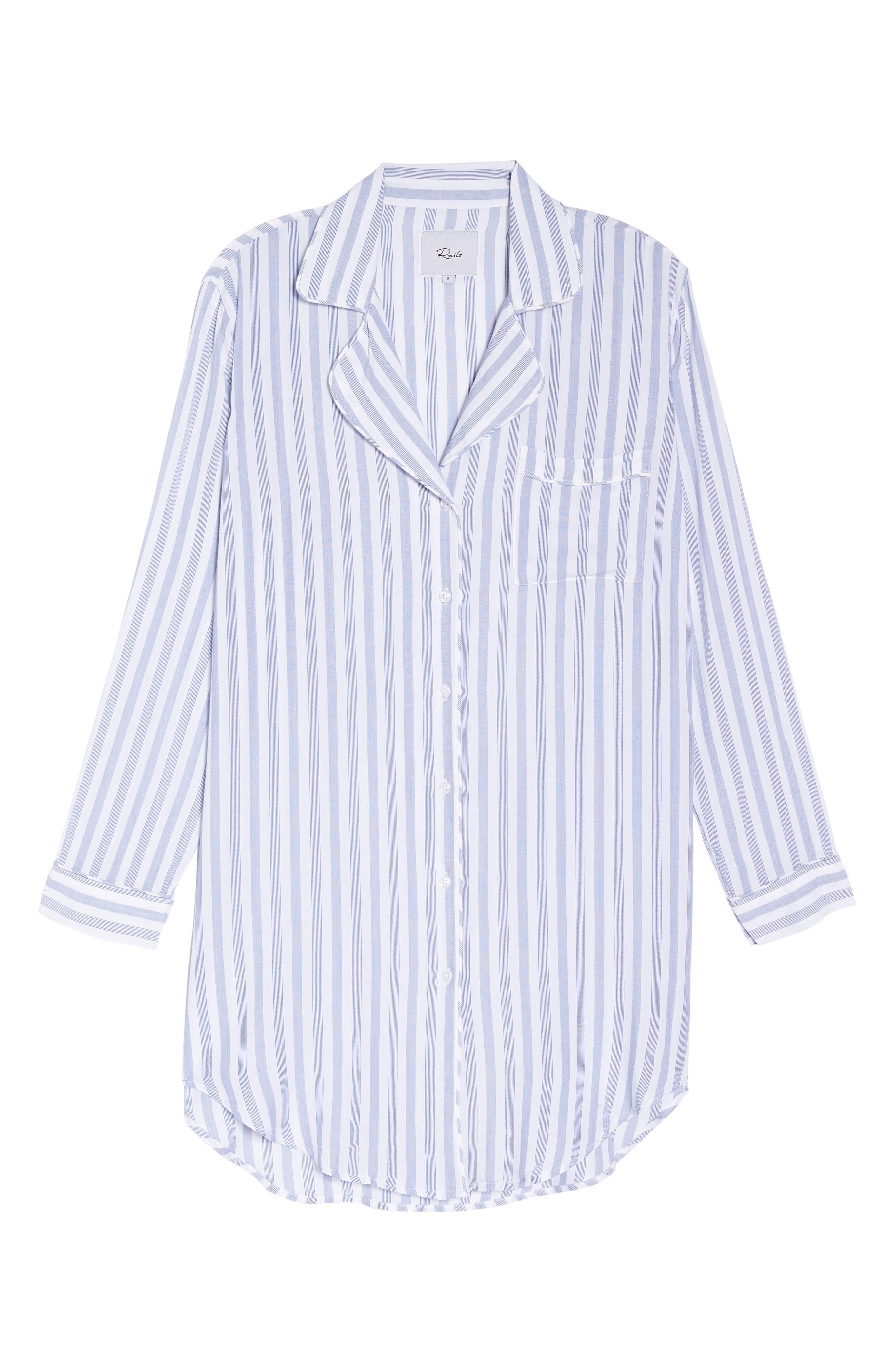 Stripe Nightshirt,                             Alternate thumbnail 4, color,                             Bermuda Stripe