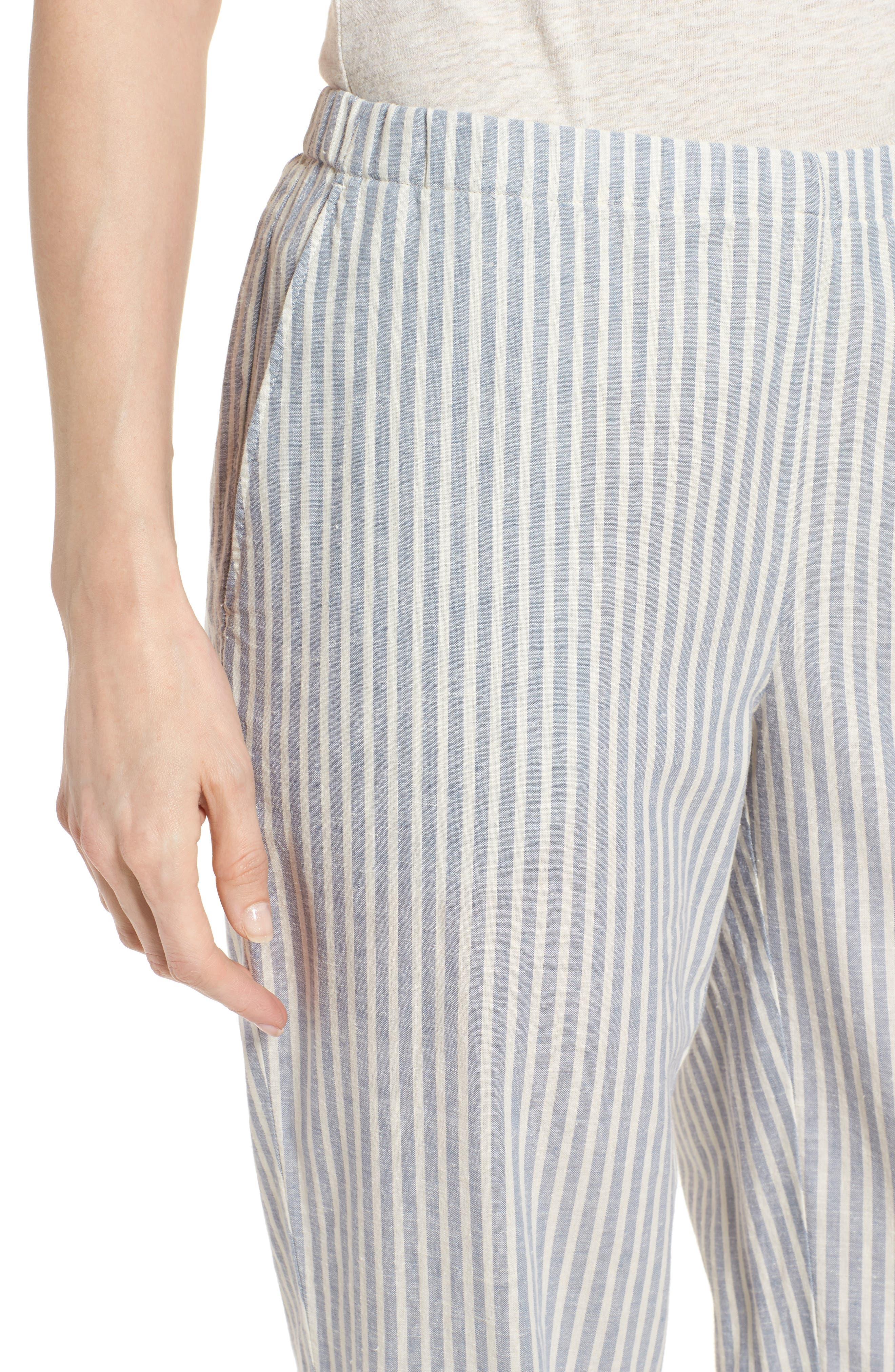 Stripe Tapered Hemp Blend Ankle Pants,                             Alternate thumbnail 4, color,                             Chambray