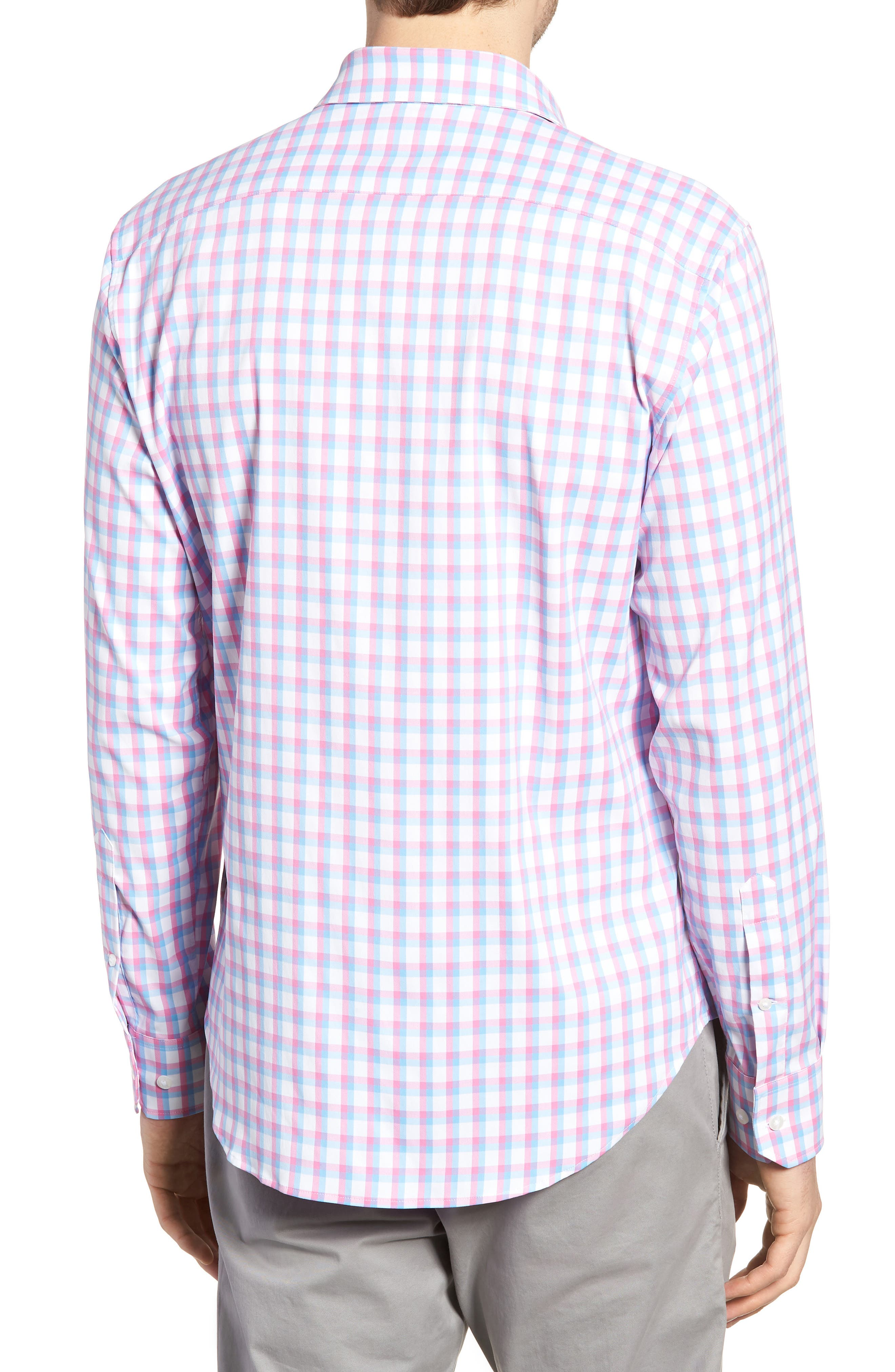 Slim Fit Check Performance Sport Shirt,                             Alternate thumbnail 3, color,                             Ultimo Check - Pacific Pink