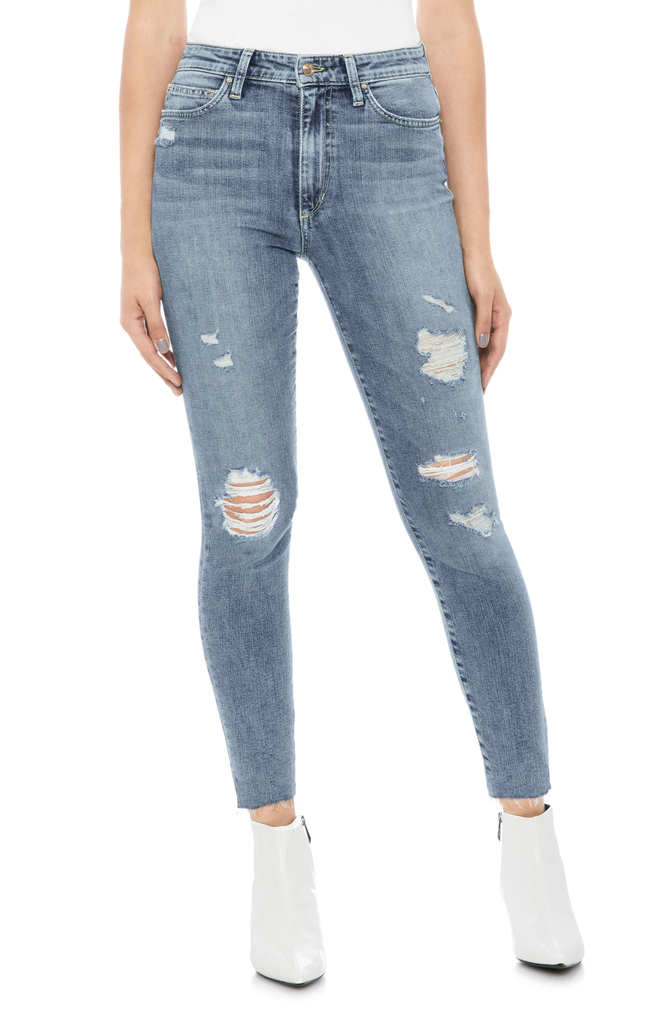 Charlie Ripped High Waist Crop Skinny Jeans,                         Main,                         color, Nydia