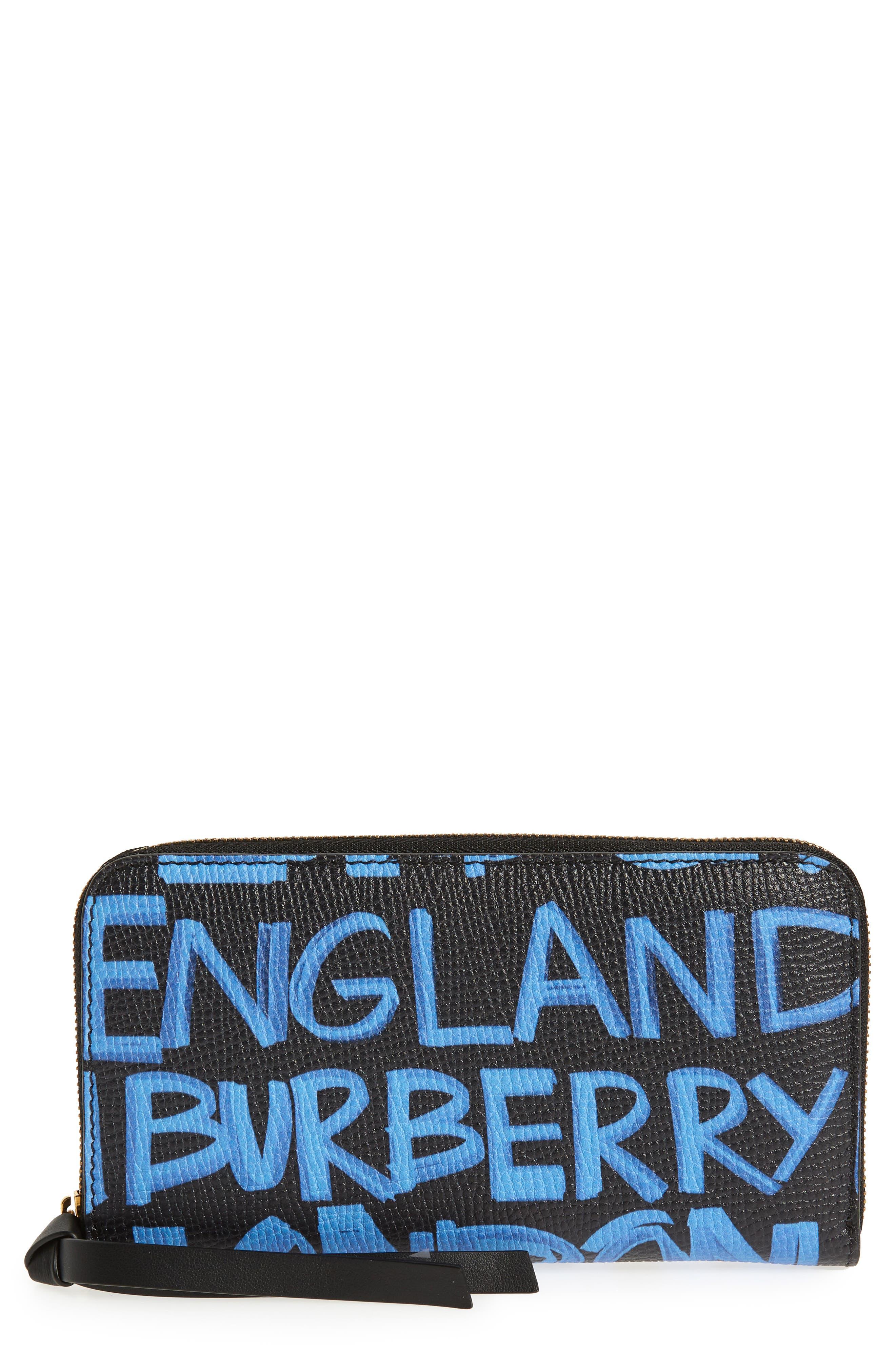 Burberry Elmore Graffiti Print Leather Zip Around Wallet