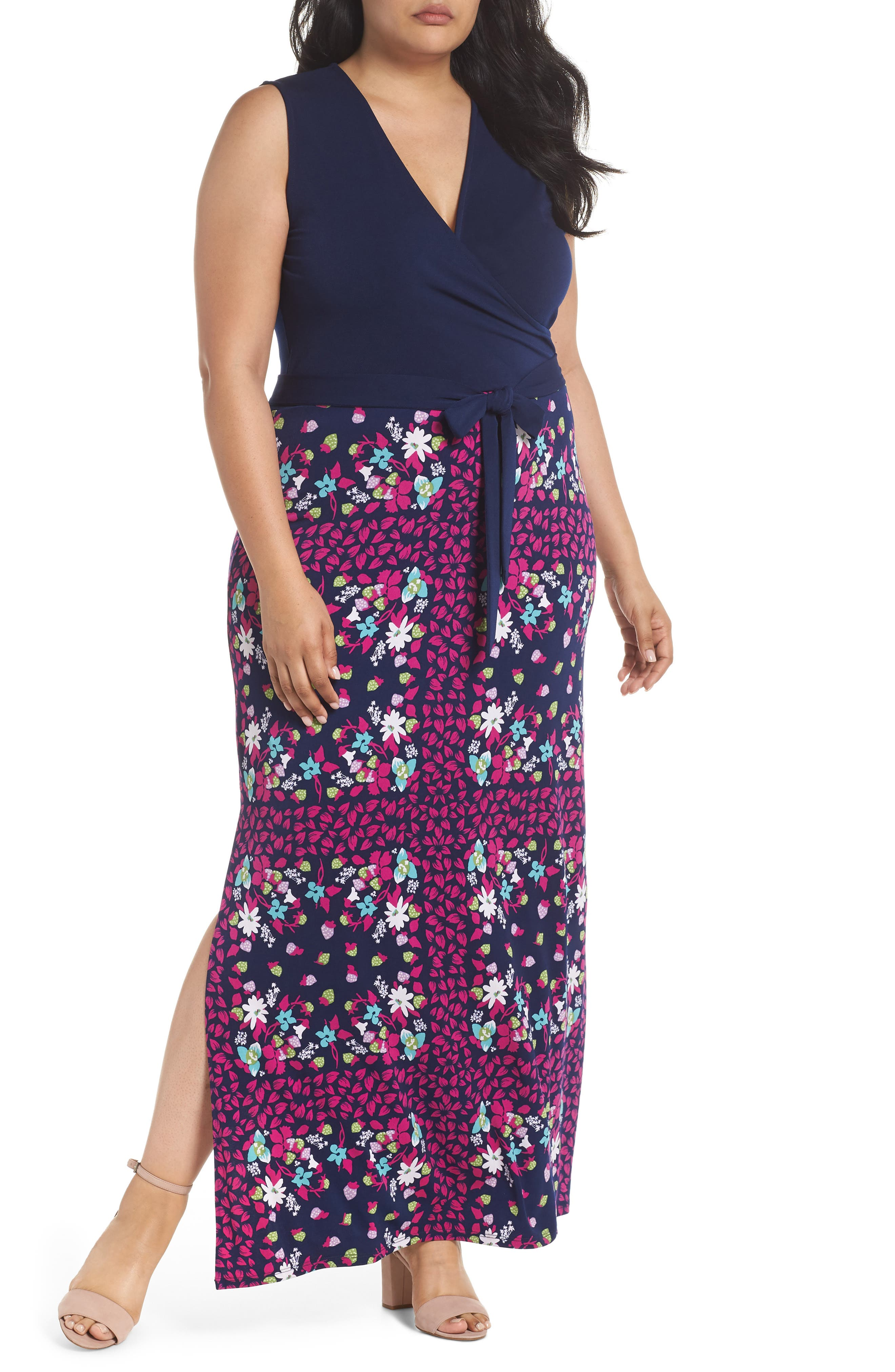 Perfect Faux Wrap Maxi Dress,                         Main,                         color, Gardner