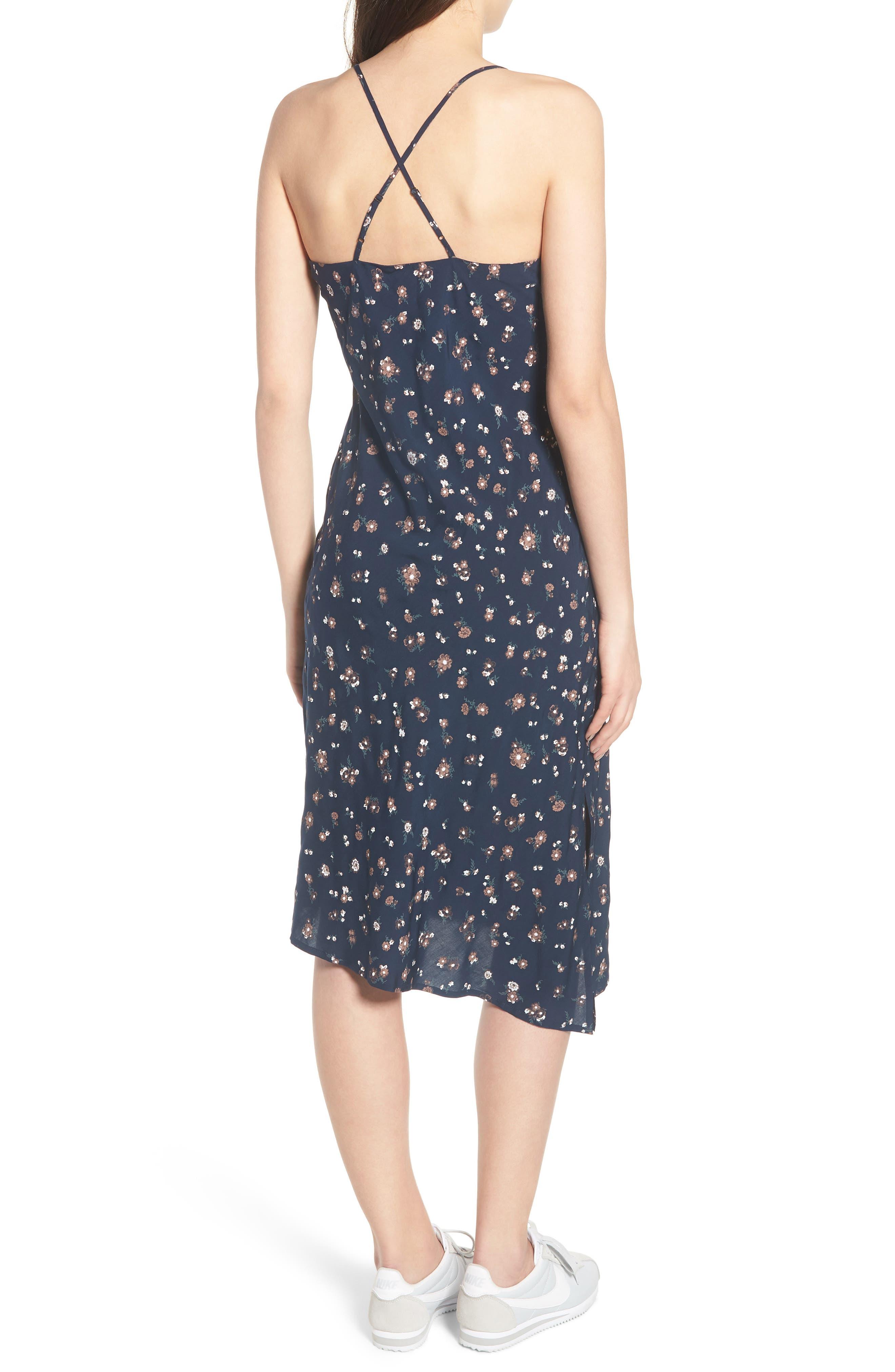 Scarlett Print Midi Dress,                             Alternate thumbnail 2, color,                             Navy Multi