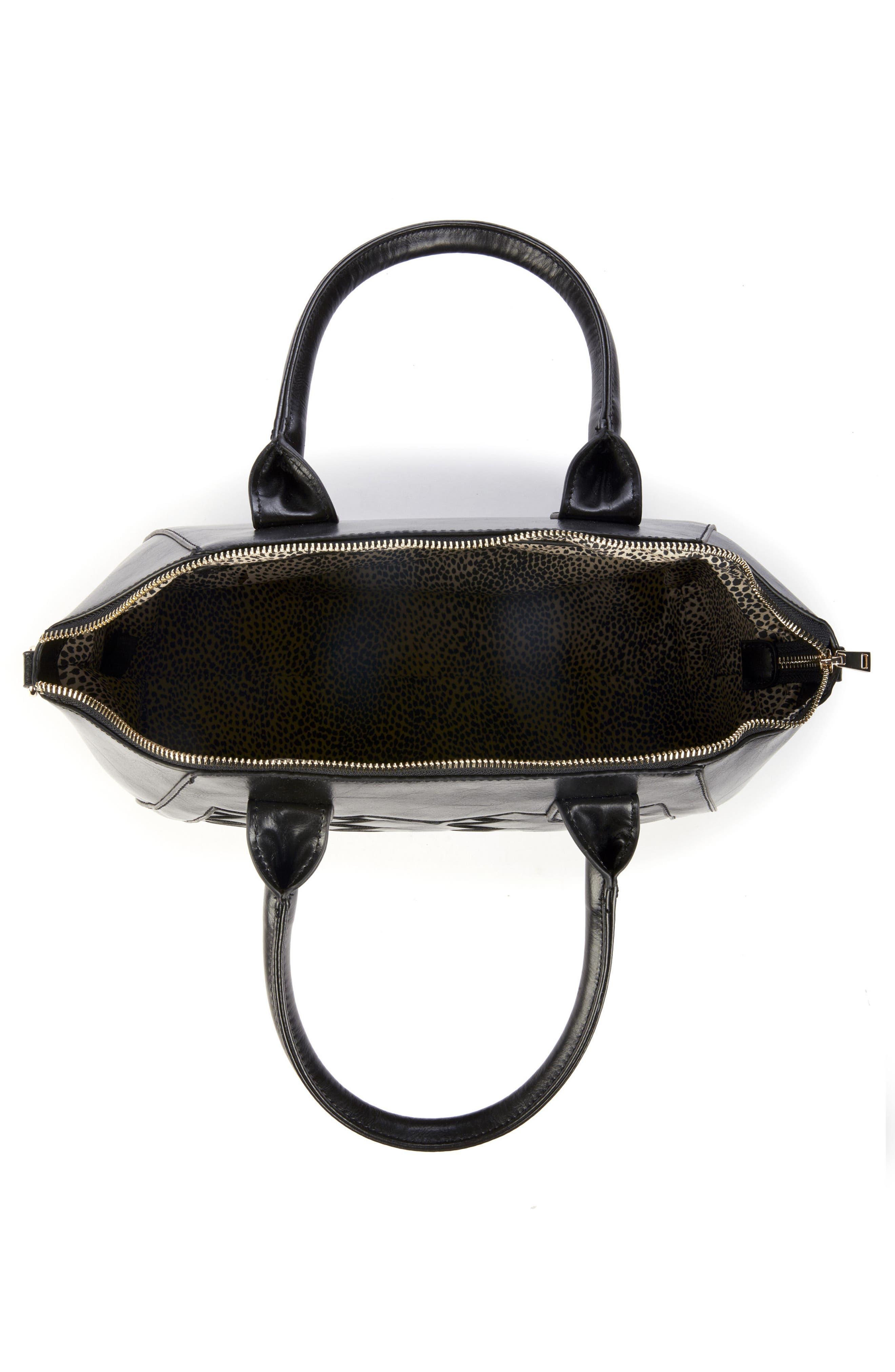 Adrina Faux Leather Satchel,                             Alternate thumbnail 2, color,                             Black