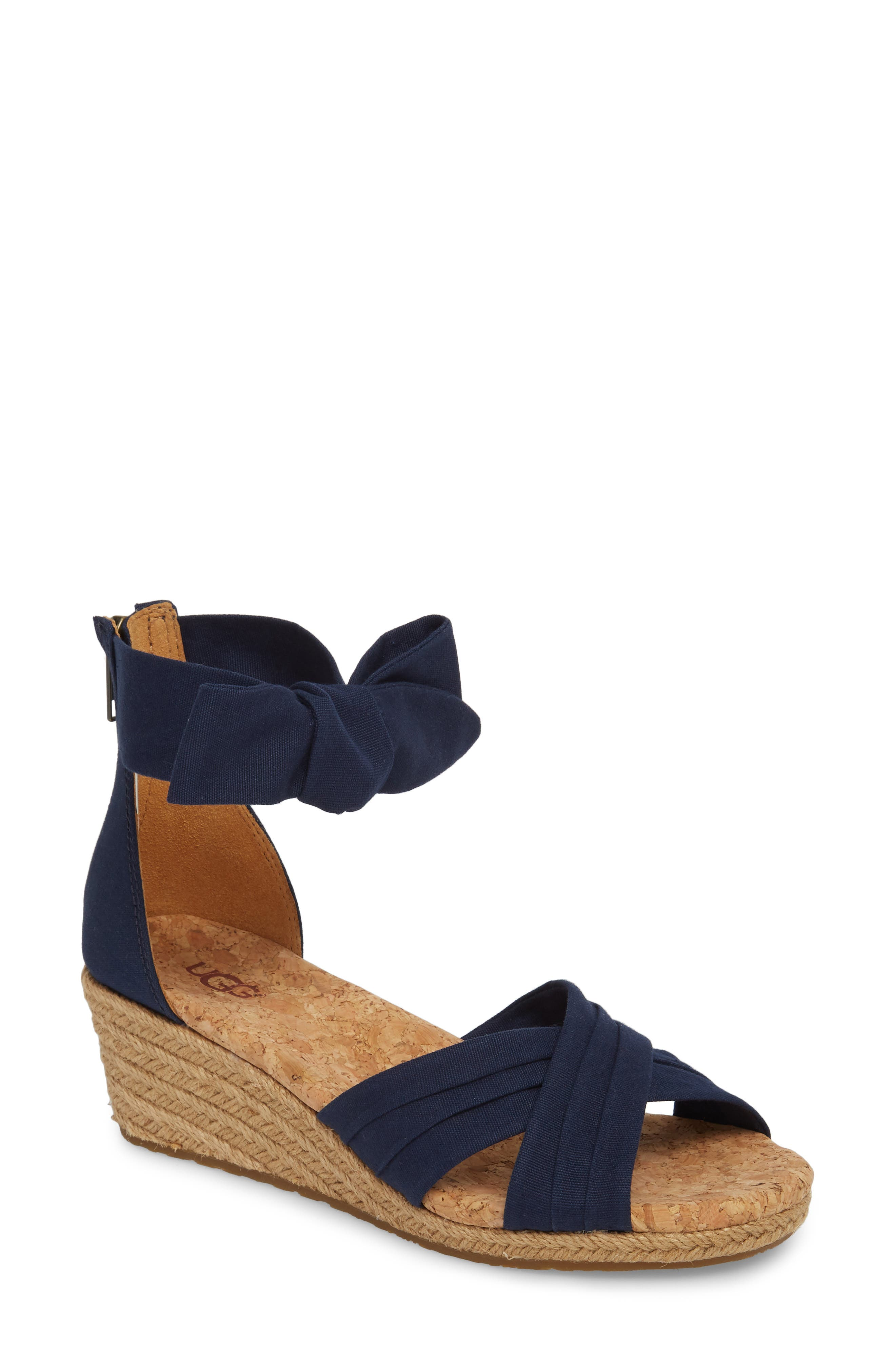 Traci Espadrille Wedge Sandal,                             Main thumbnail 1, color,                             Navy