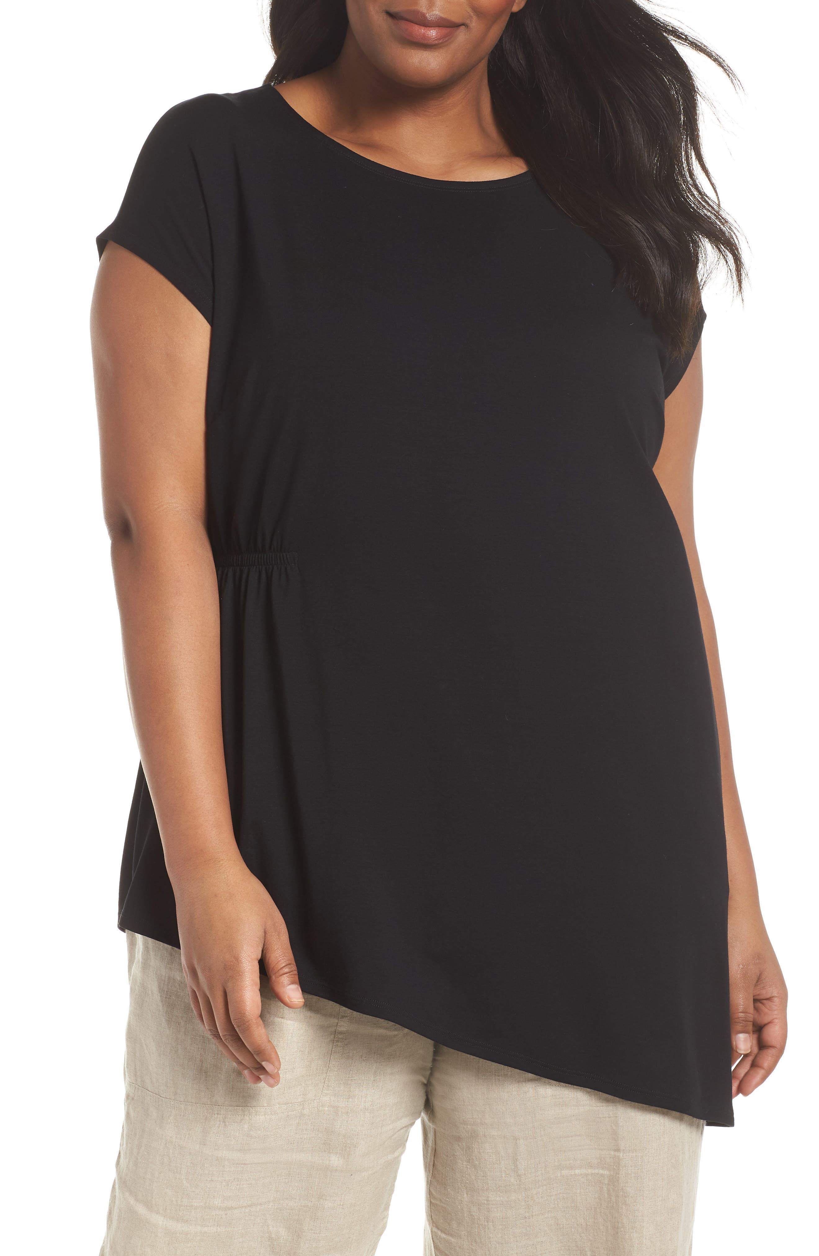 Alternate Image 1 Selected - Eileen Fisher Asymmetrical Jersey Top (Plus Size)