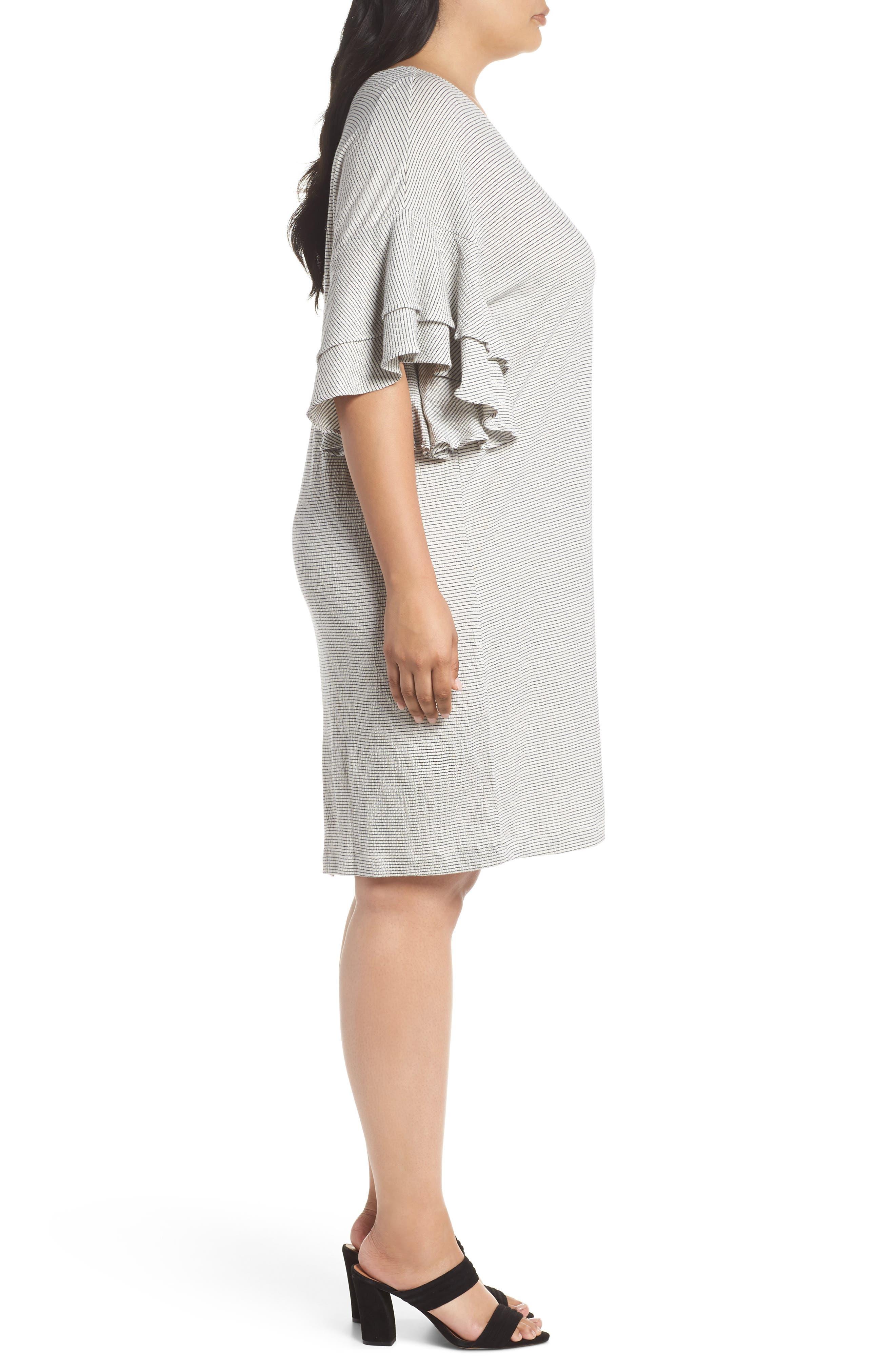 Alternate Image 3  - Lucky Brand Stripe Ruffle Minidress (Plus Size)