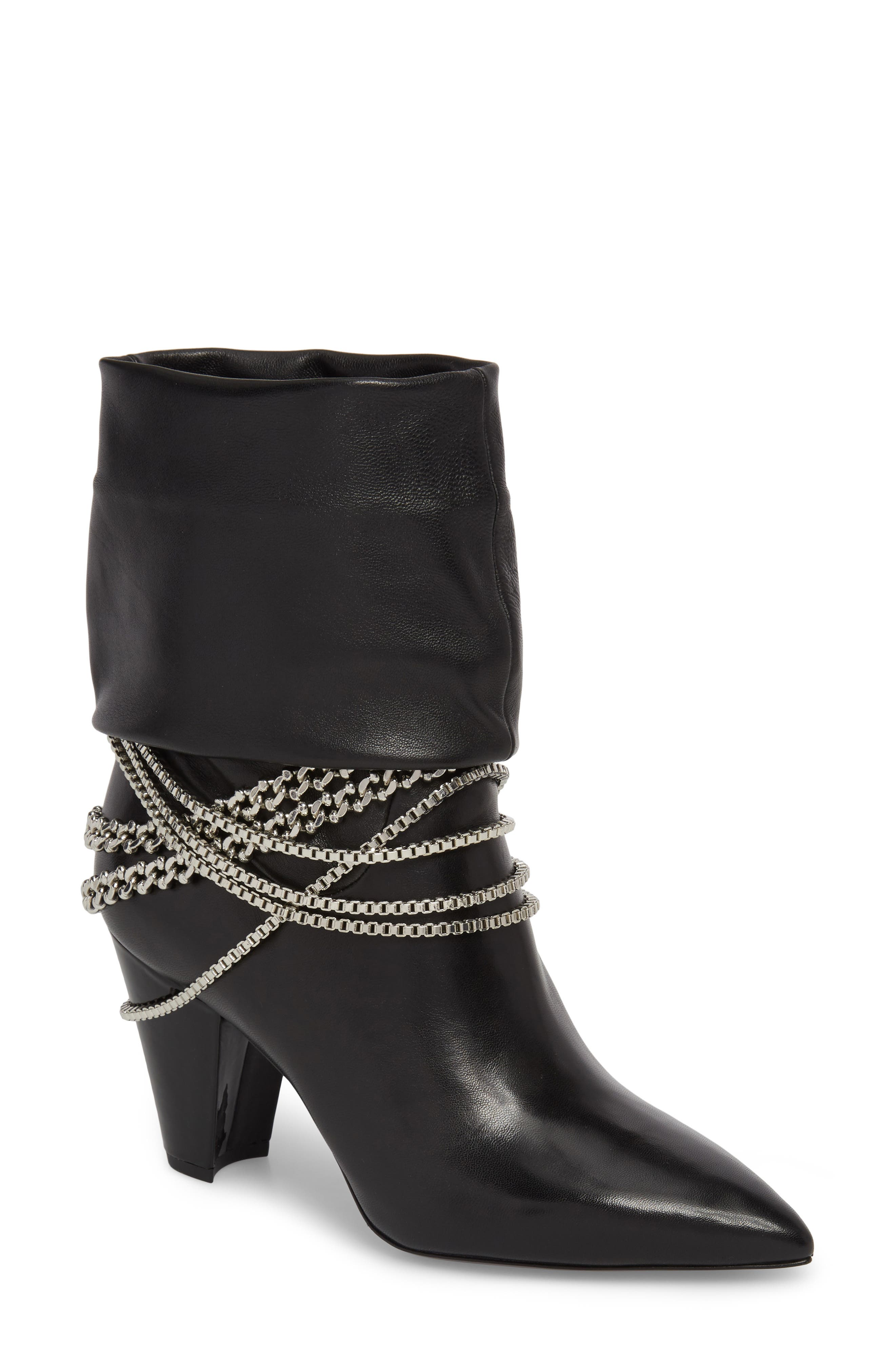 Self-Portrait Sadie Chain Embellished Slouch Boot (Women)