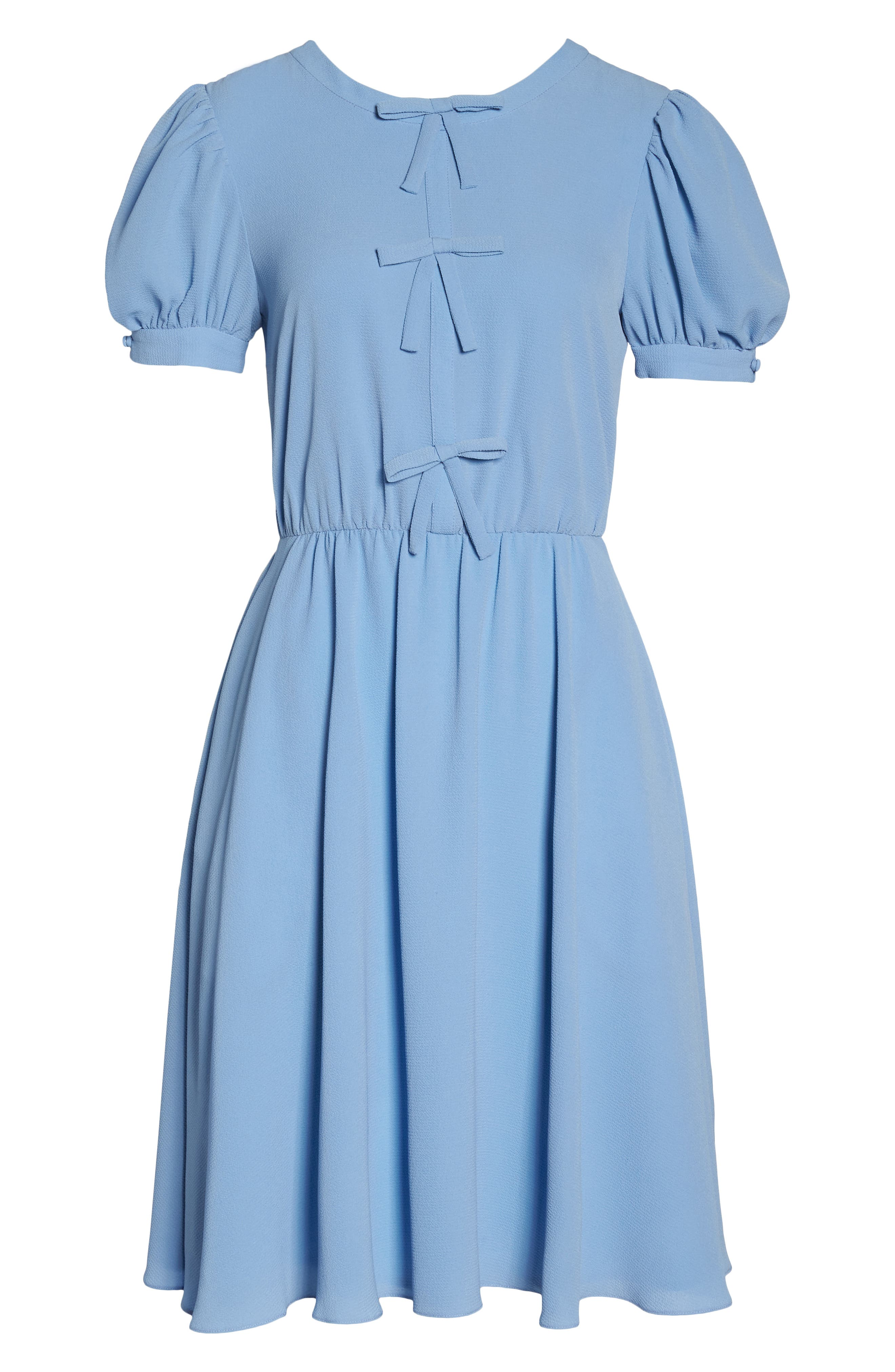 Ellie Crepe Puff Sleeve Dress,                             Alternate thumbnail 8, color,                             Sky Blue