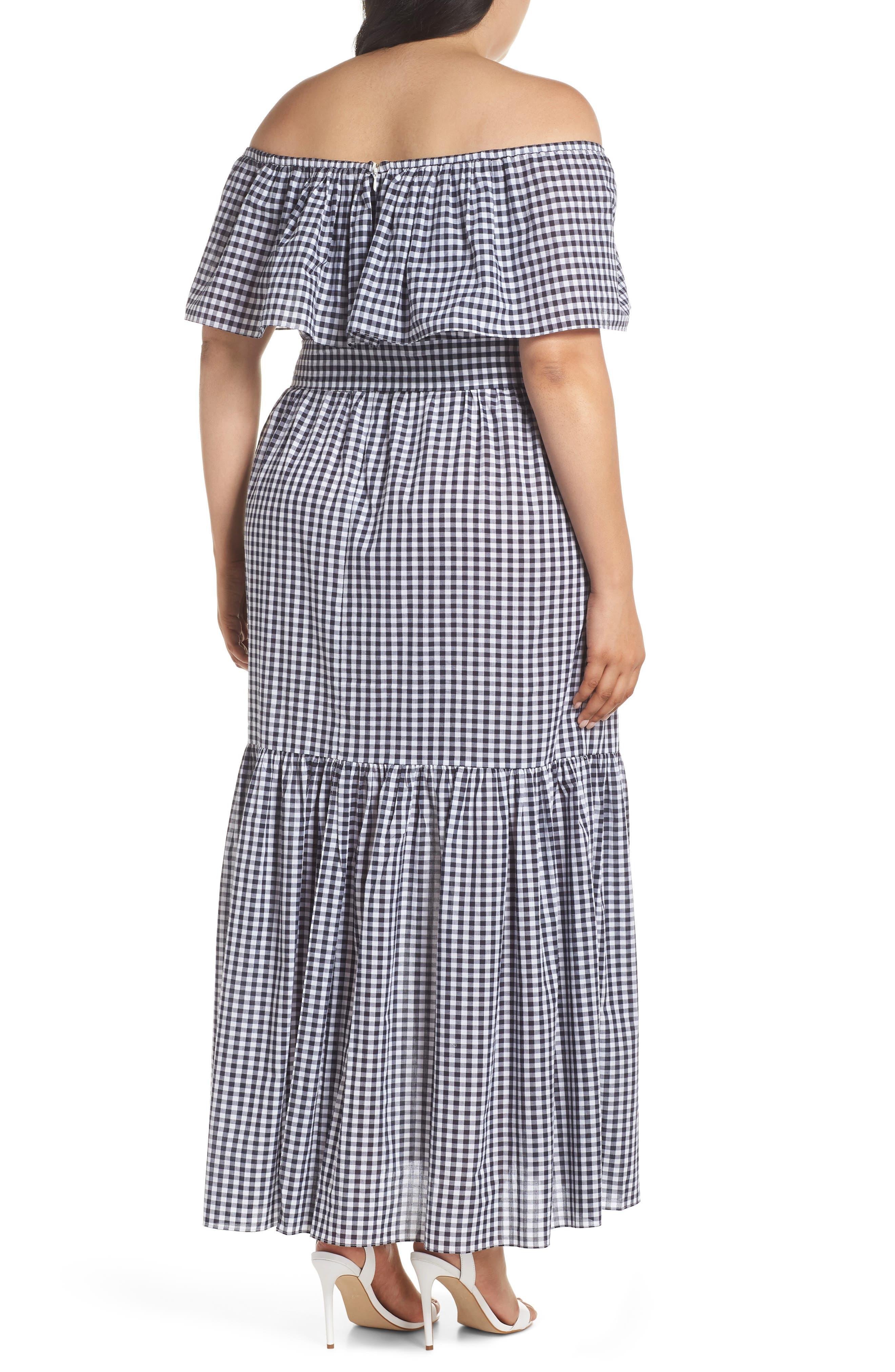 Off the Shoulder Gingham Maxi Dress,                             Alternate thumbnail 2, color,                             Blue White Gingham