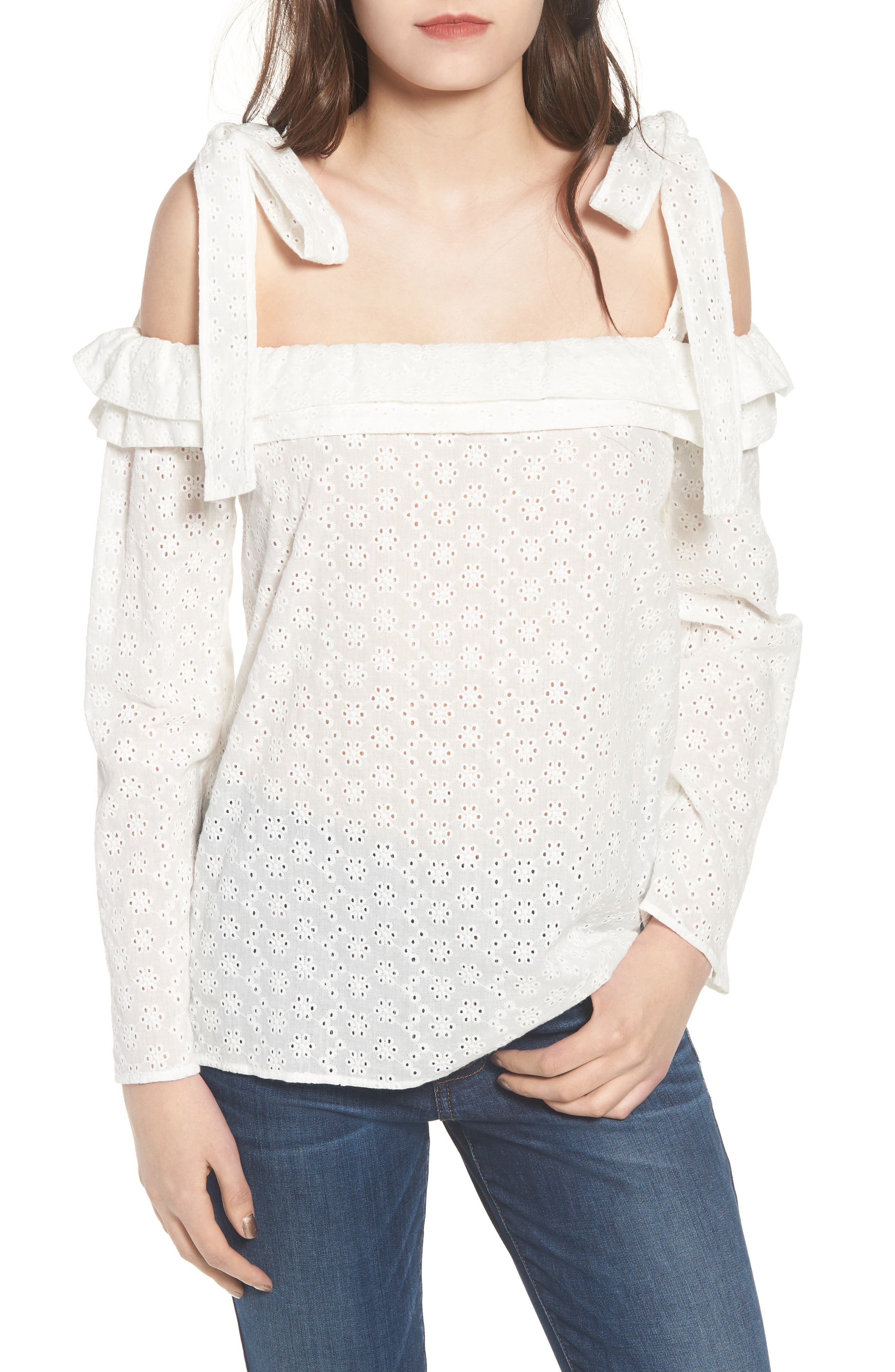 Eyelet Tie Shoulder Top,                             Main thumbnail 1, color,                             White