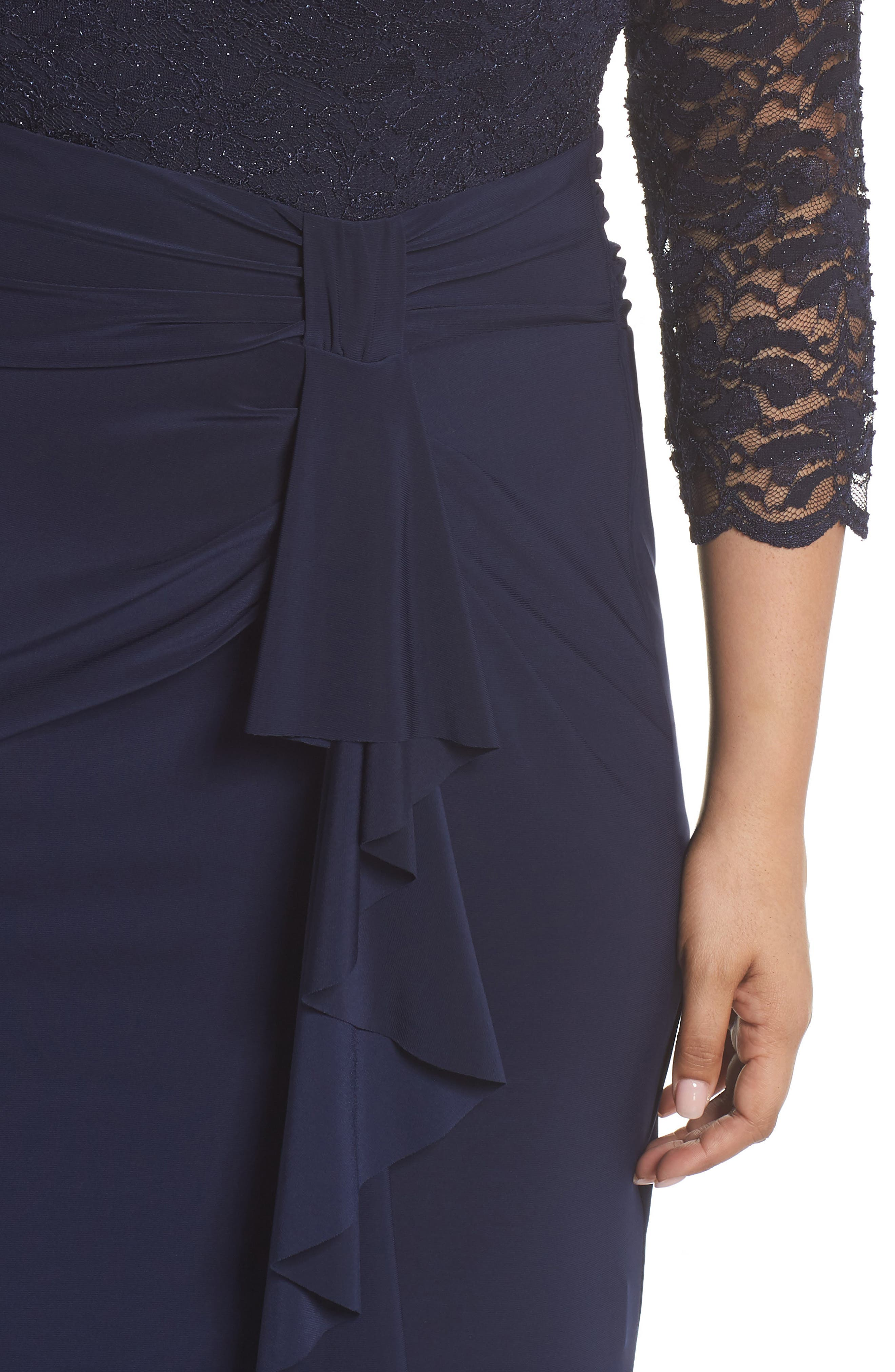 Alternate Image 4  - Marina Cascade Lace & Jersey Gown (Plus Size)
