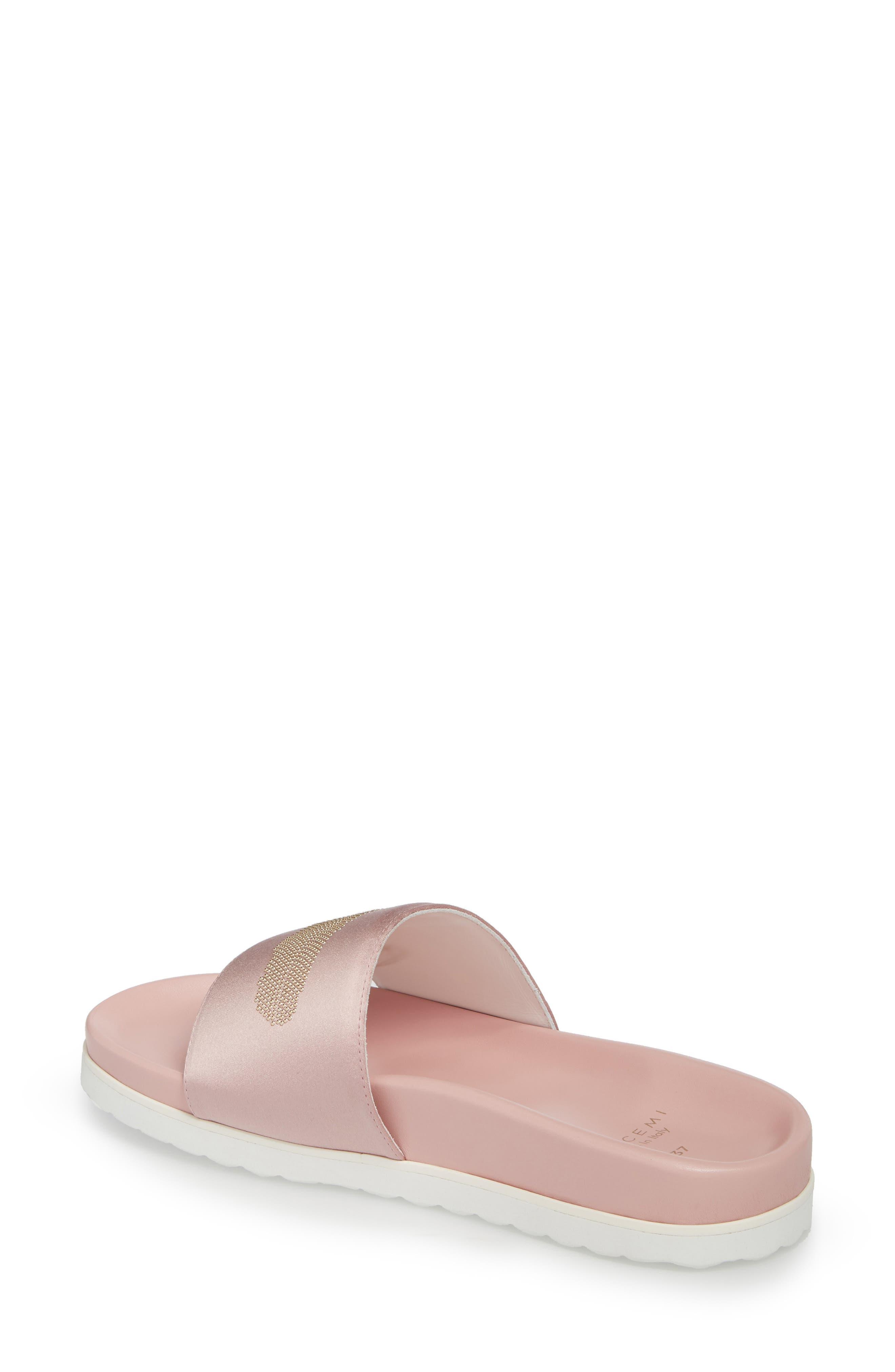 Satin Slide Sandal,                             Alternate thumbnail 2, color,                             Pink