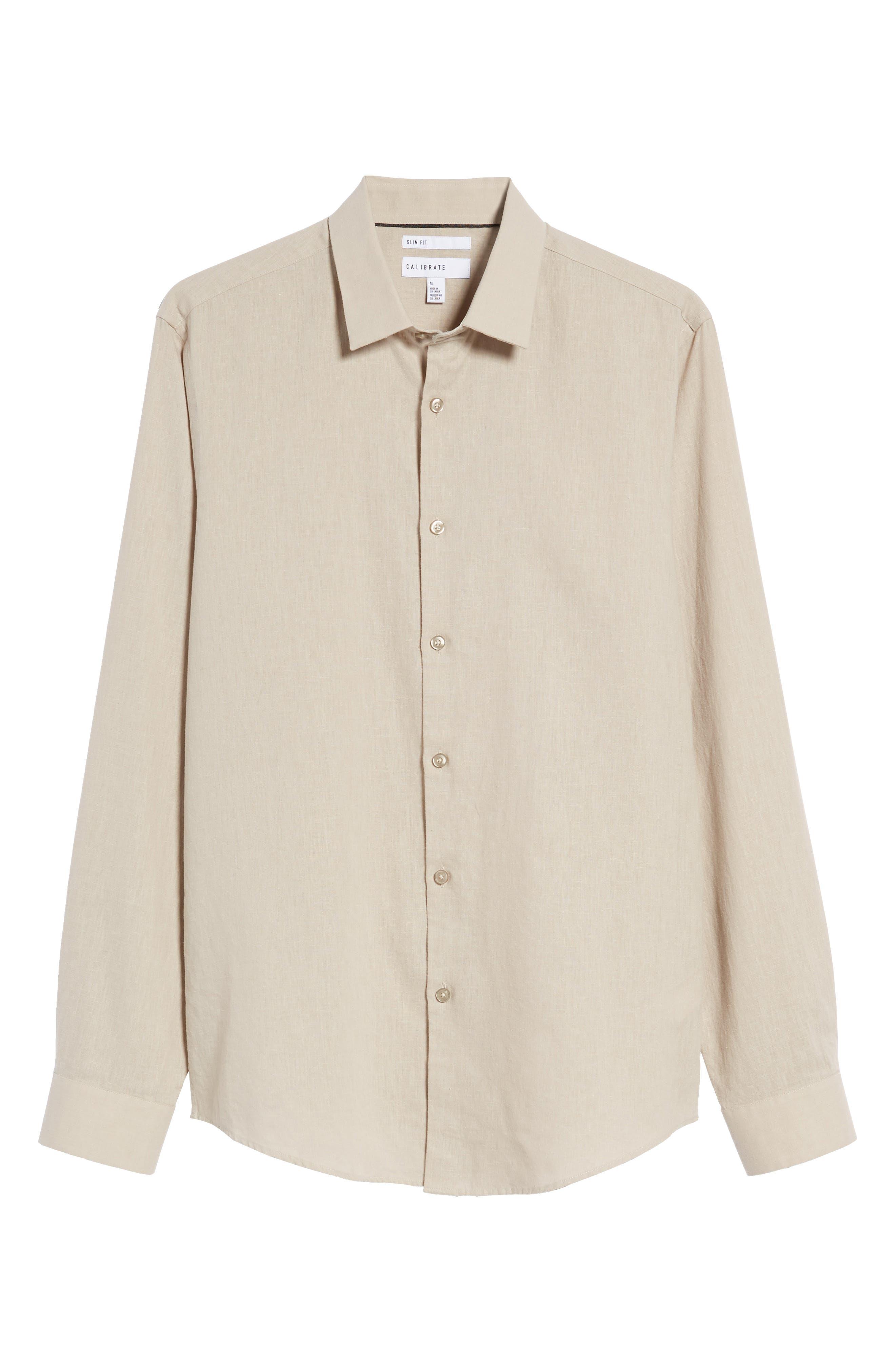Linen Blend Sport Shirt,                             Alternate thumbnail 6, color,                             Beige Bliss