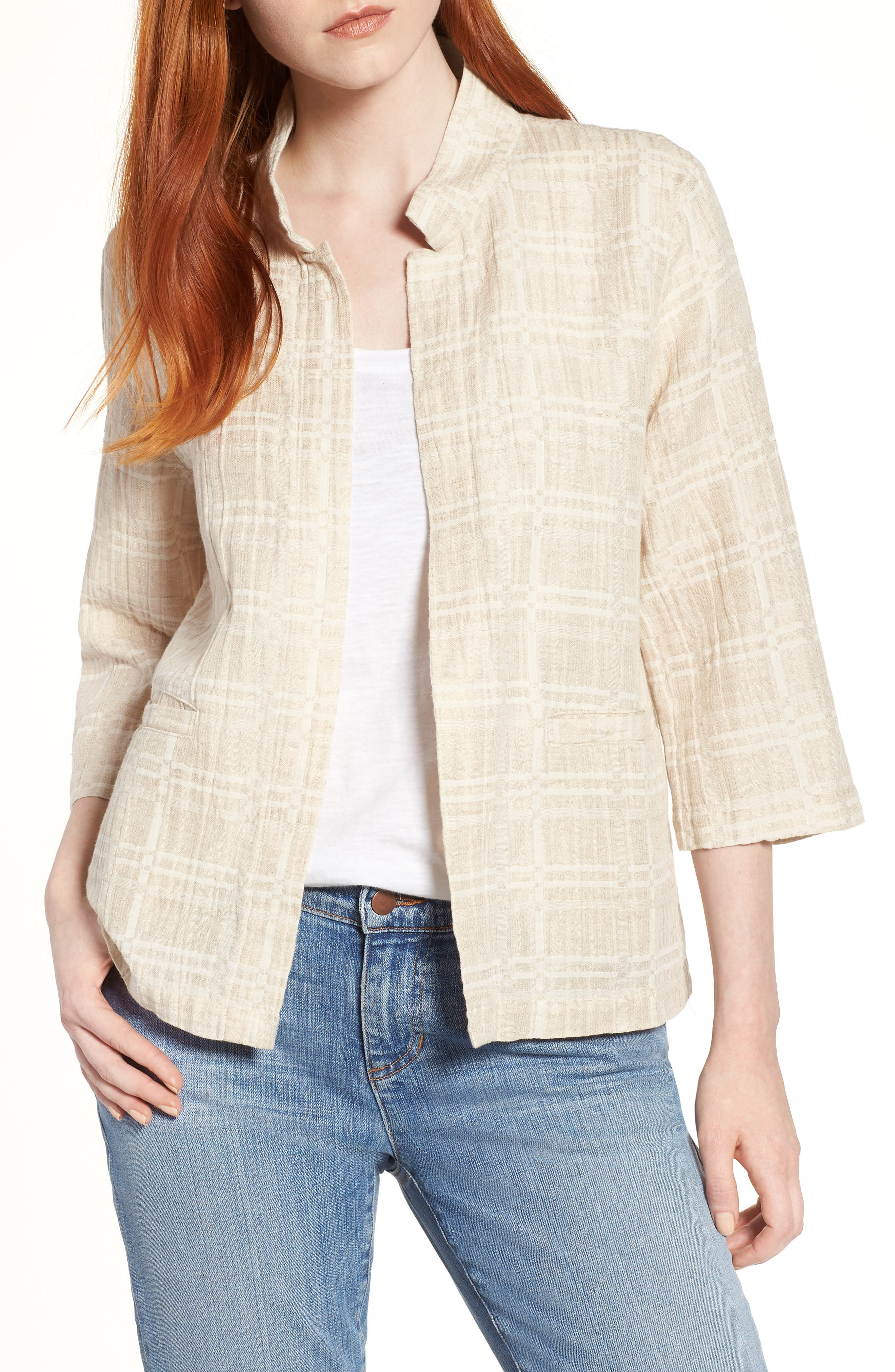 Check Organic Cotton & Linen Jacket,                         Main,                         color, Natural