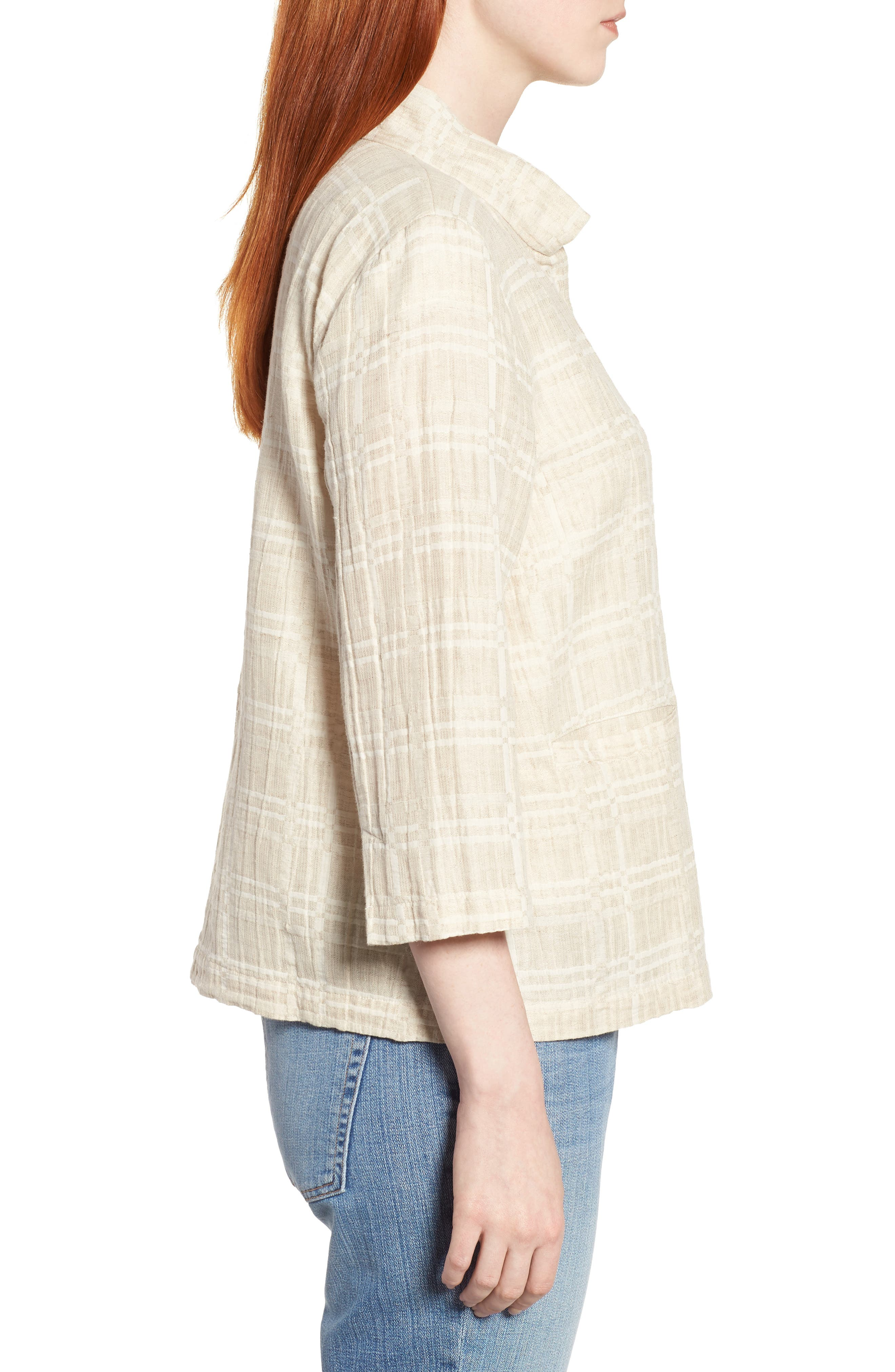 Check Organic Cotton & Linen Jacket,                             Alternate thumbnail 3, color,                             Natural