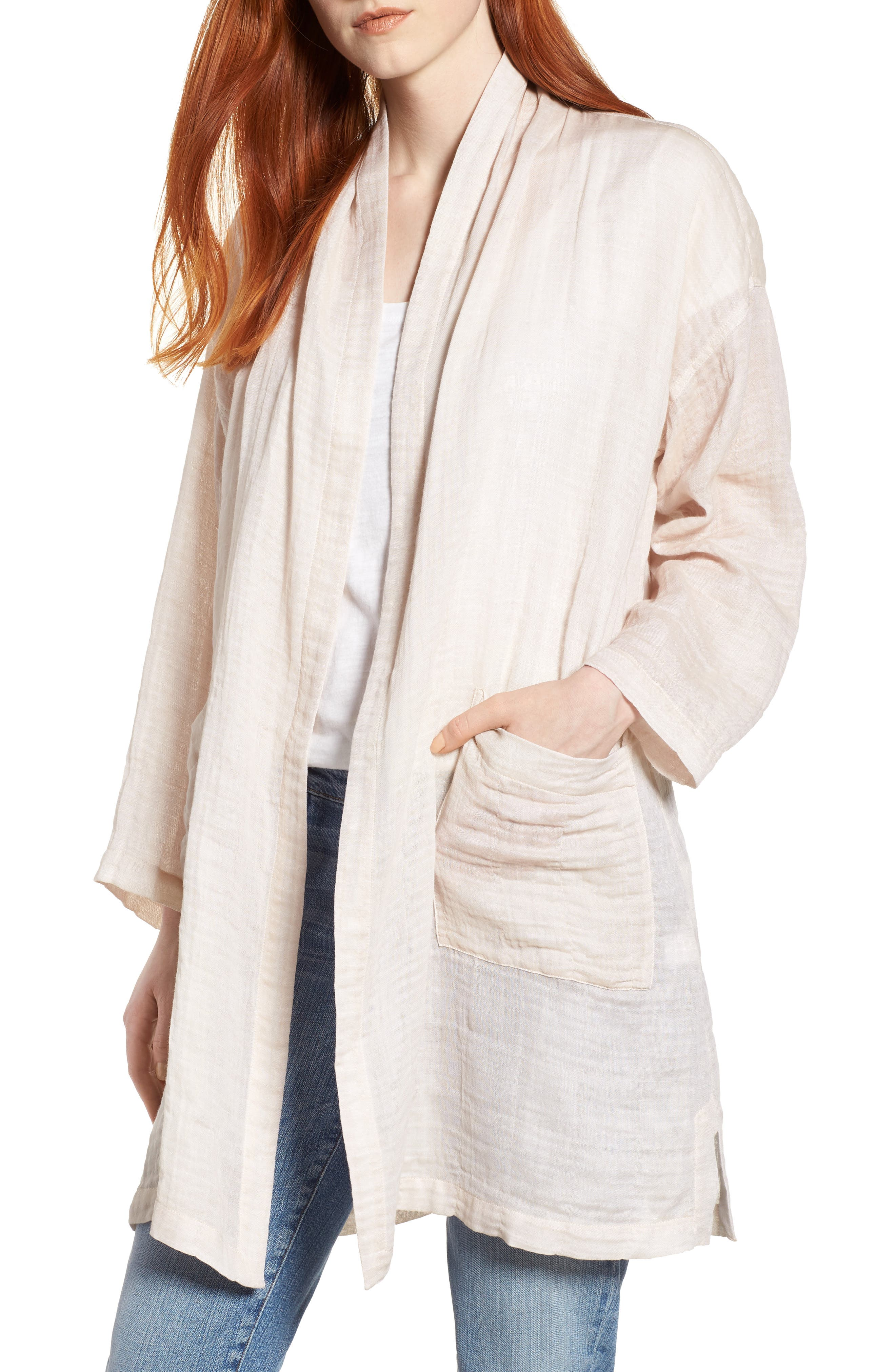 Linen Blend Kimono Jacket,                             Main thumbnail 1, color,                             Natural