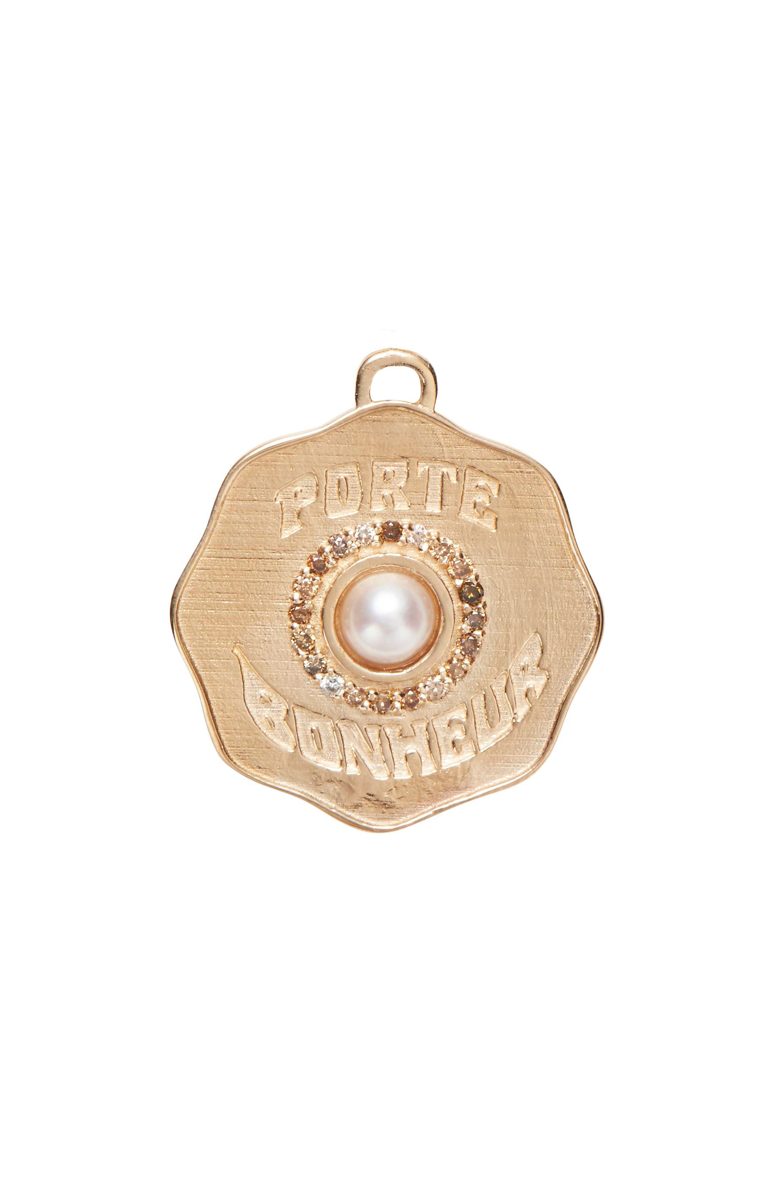 MARLO LAZ Porte Bonheur Pearl Coin Charm in Yellow Gold