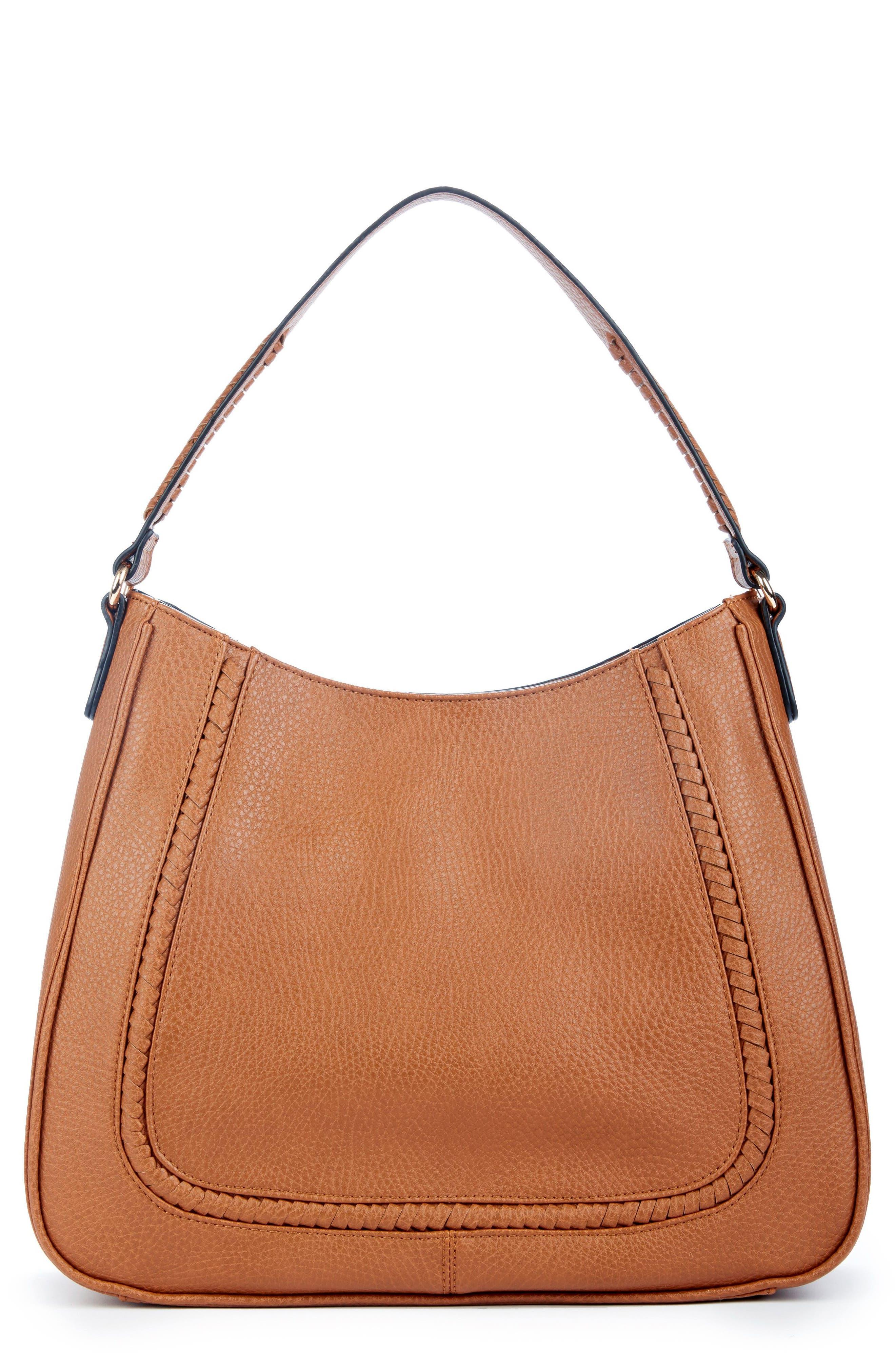 Sarafina Faux Leather Shoulder Bag,                             Main thumbnail 1, color,                             Cognac